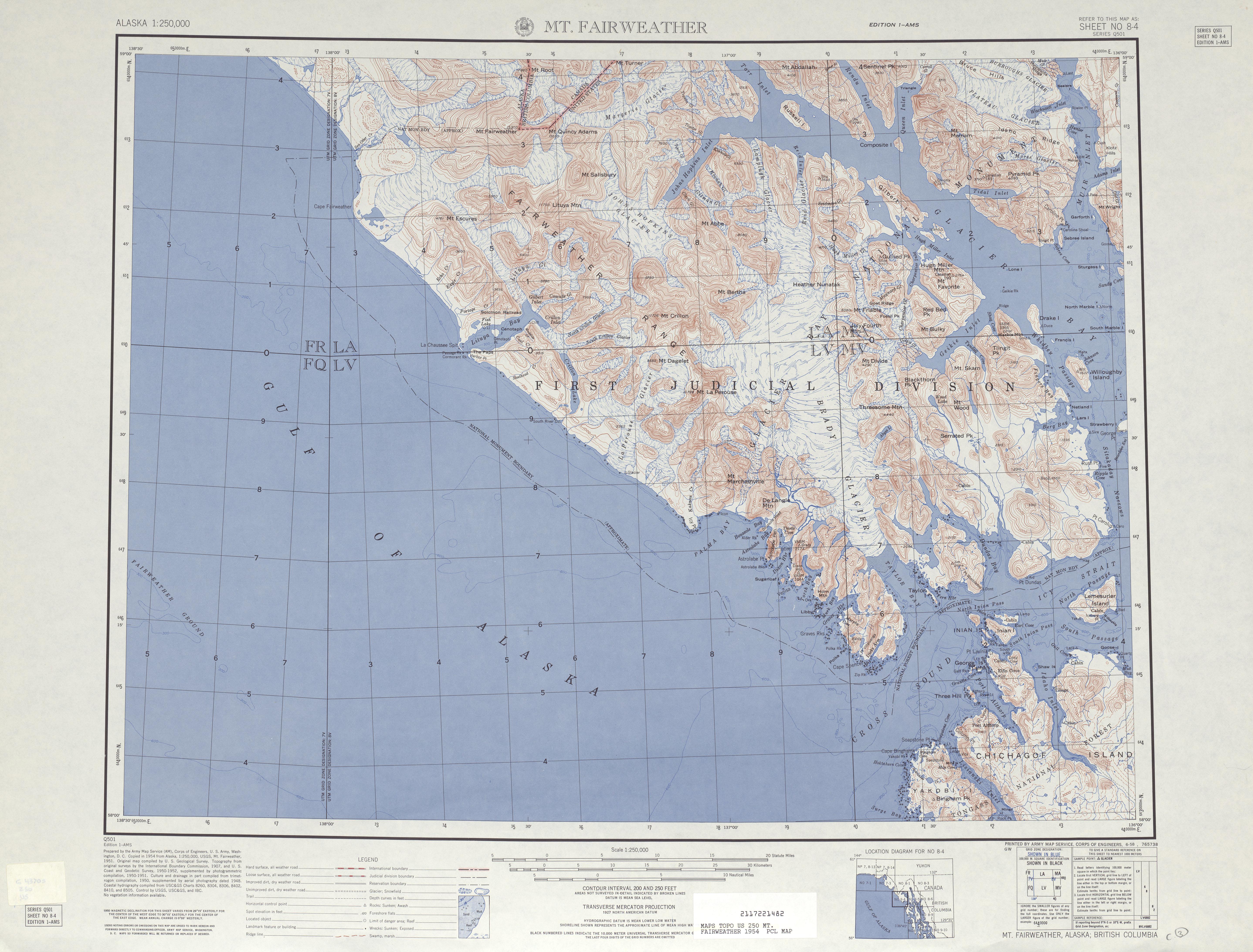 Hoja Mt. Fairweather del Mapa Topográfico de los Estados Unidos 1954