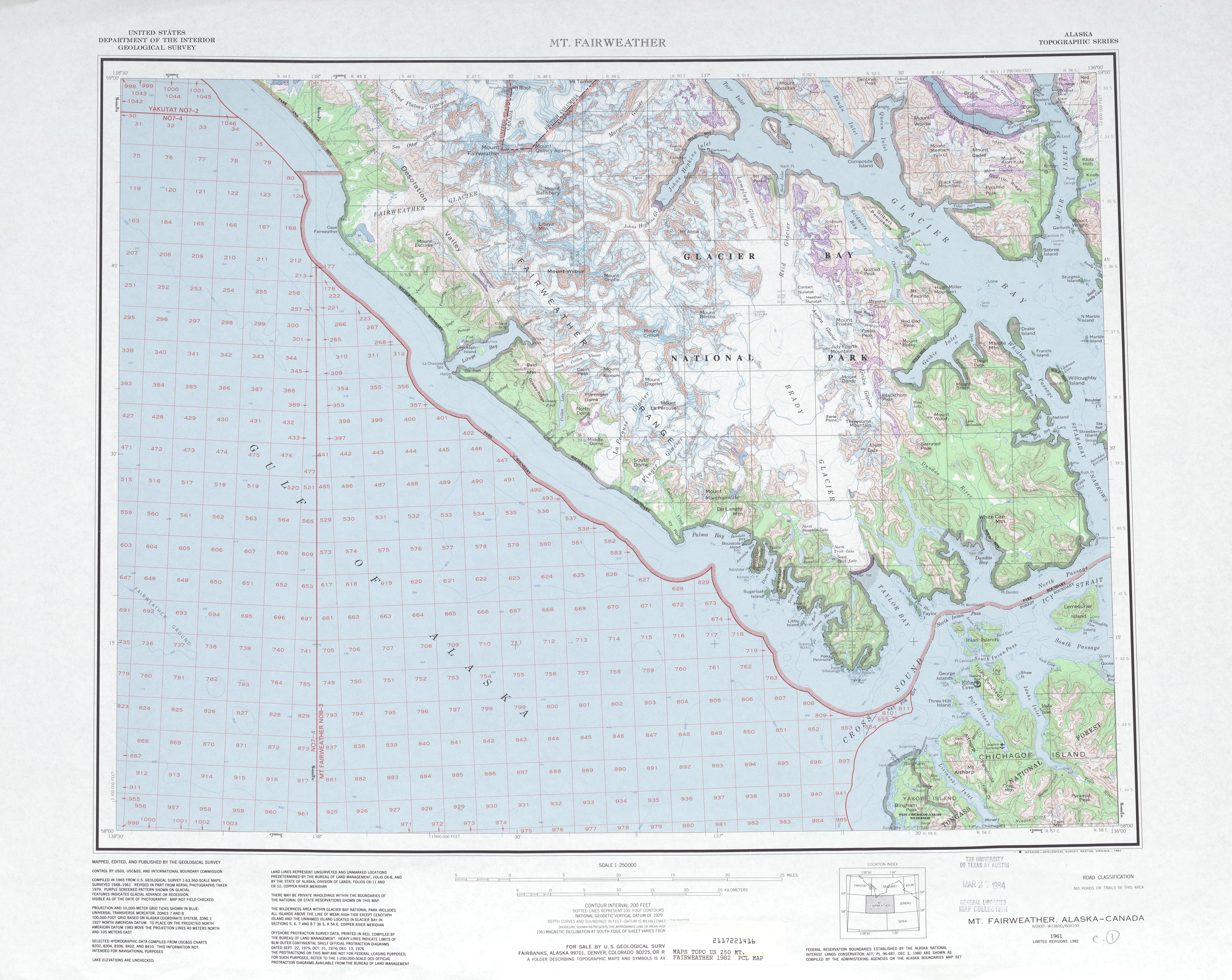 Hoja Mt. Fairweather del Mapa Topográfico de los Estados Unidos 1982