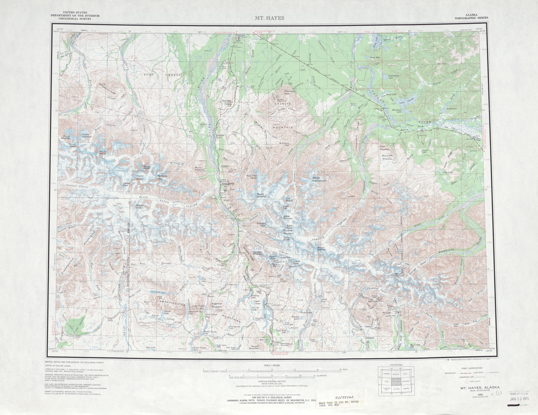Hoja Mt. Hayes del Mapa Topográfico de los Estados Unidos 1969