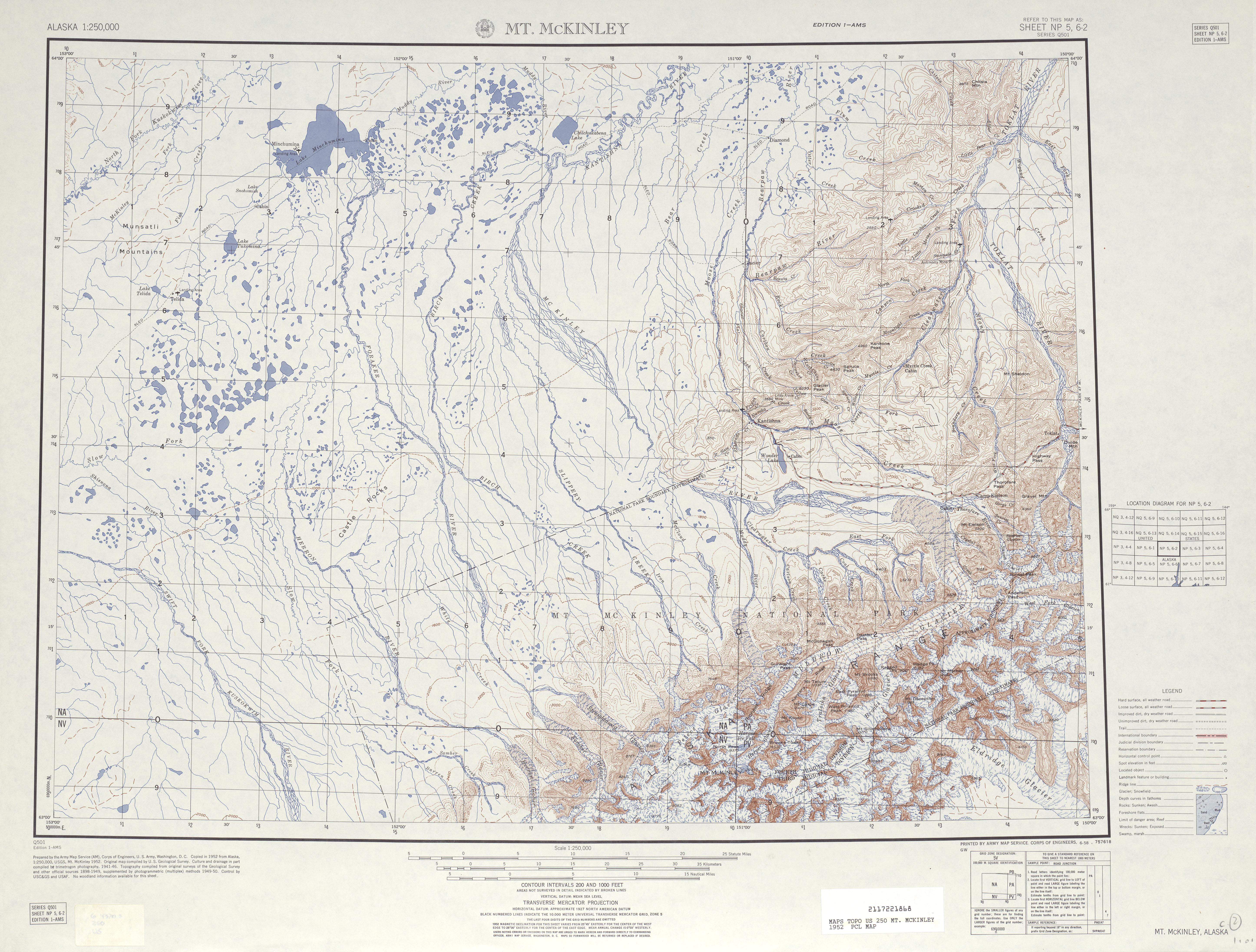 Hoja Mt. Mckinley del Mapa Topográfico de los Estados Unidos 1952