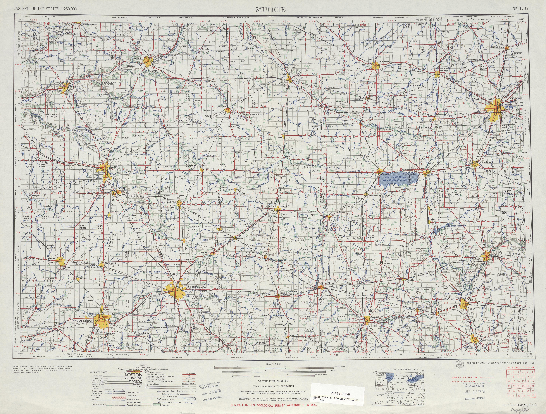 Hoja Muncie del Mapa Topográfico de los Estados Unidos 1953