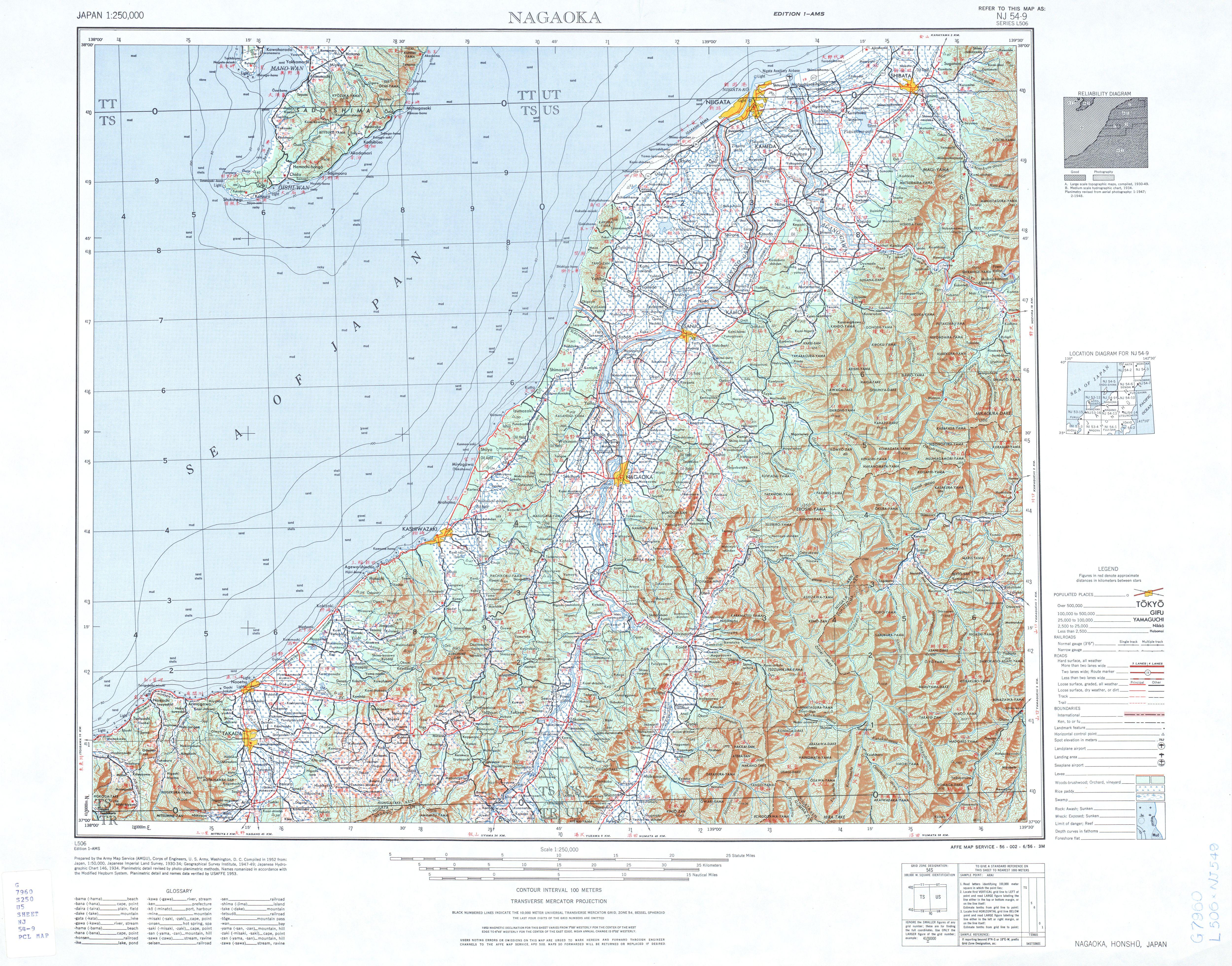 Hoja Nagaoka del Mapa Topográfico de Japón 1954