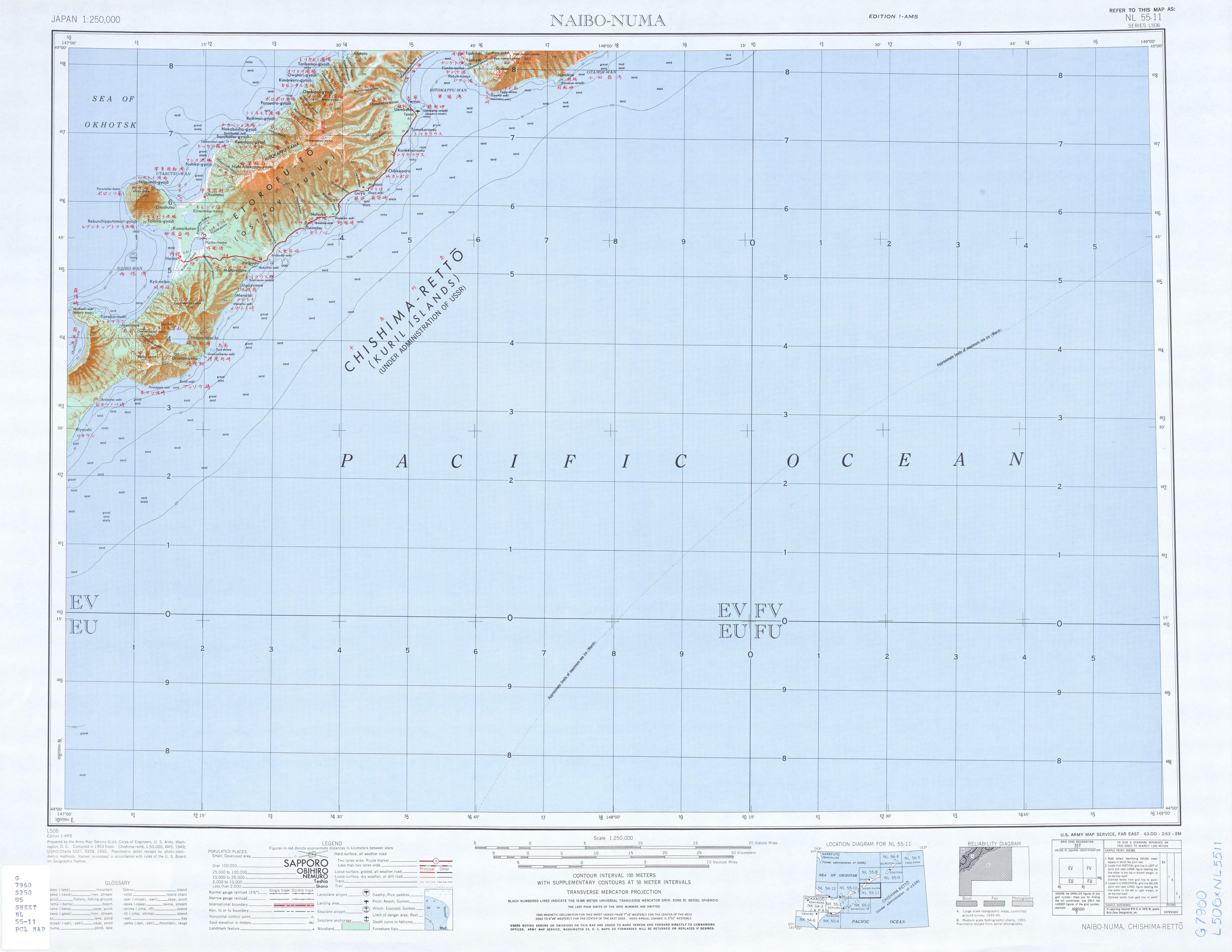 Hoja Naibo-Numa del Mapa Topográfico de Japón 1954