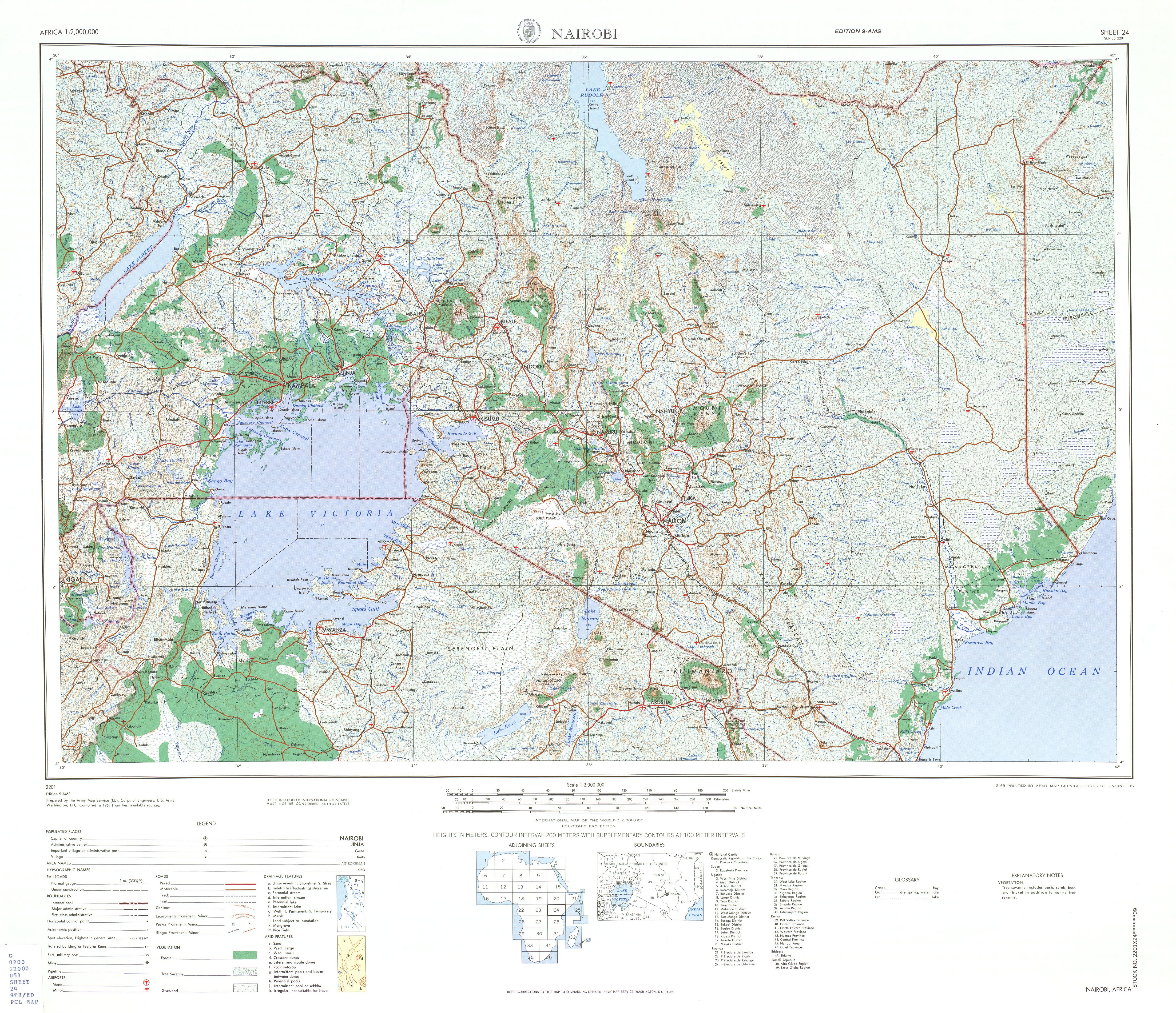 Hoja Nairobi del Mapa Topográfico de África 1968