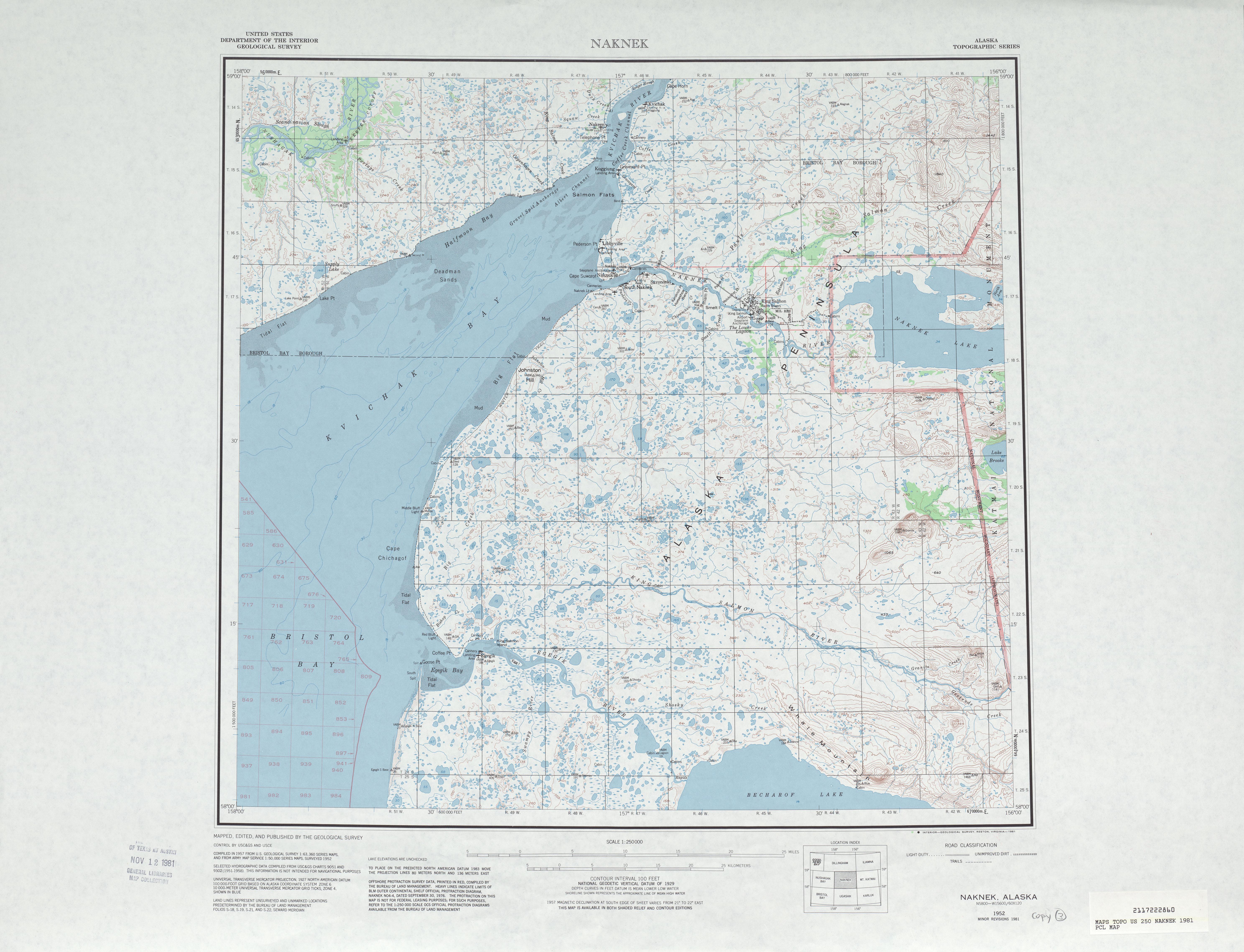 Hoja Naknek del Mapa Topográfico de los Estados Unidos 1981