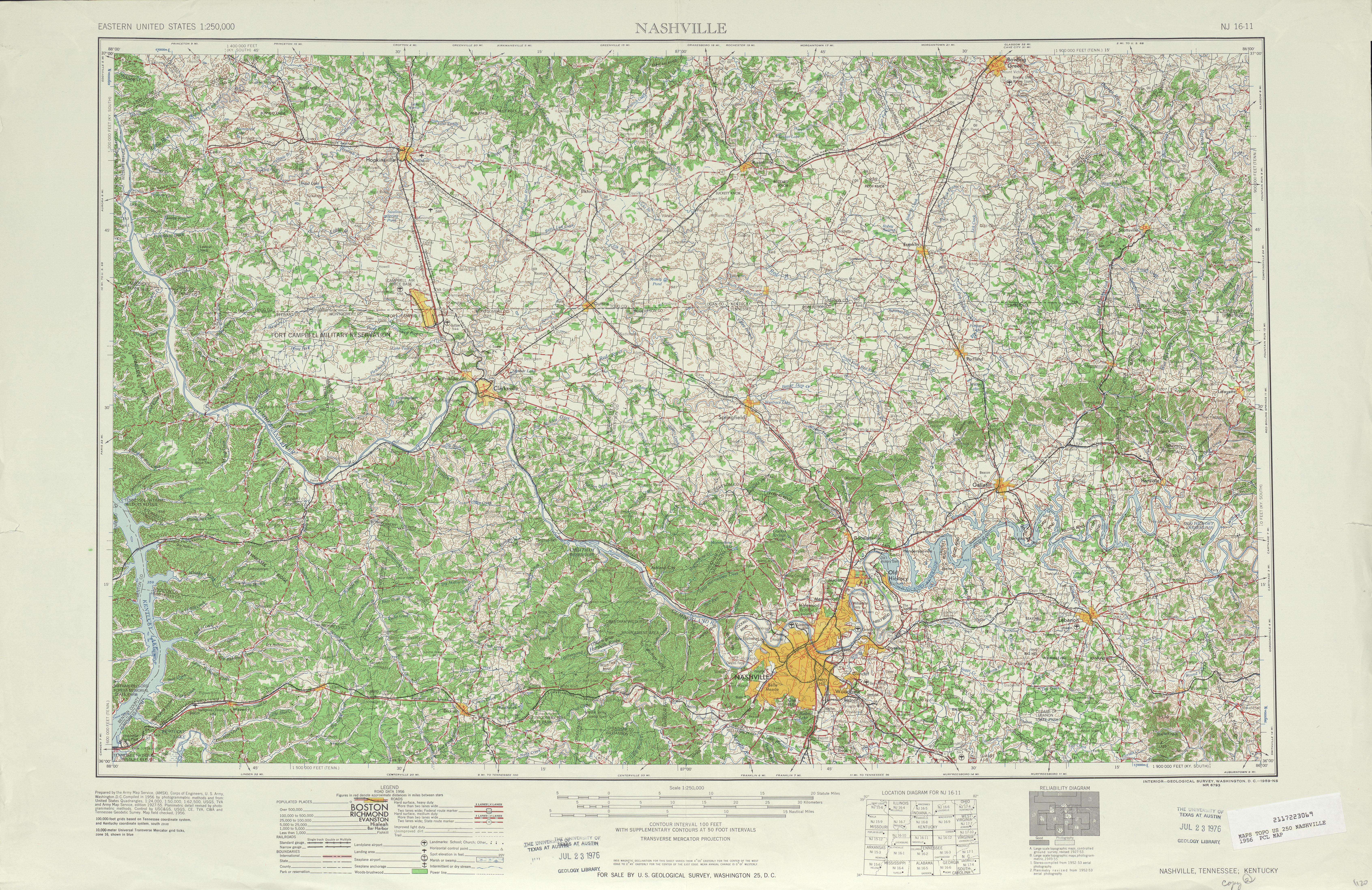 Hoja Nashville del Mapa Topográfico de los Estados Unidos 1956