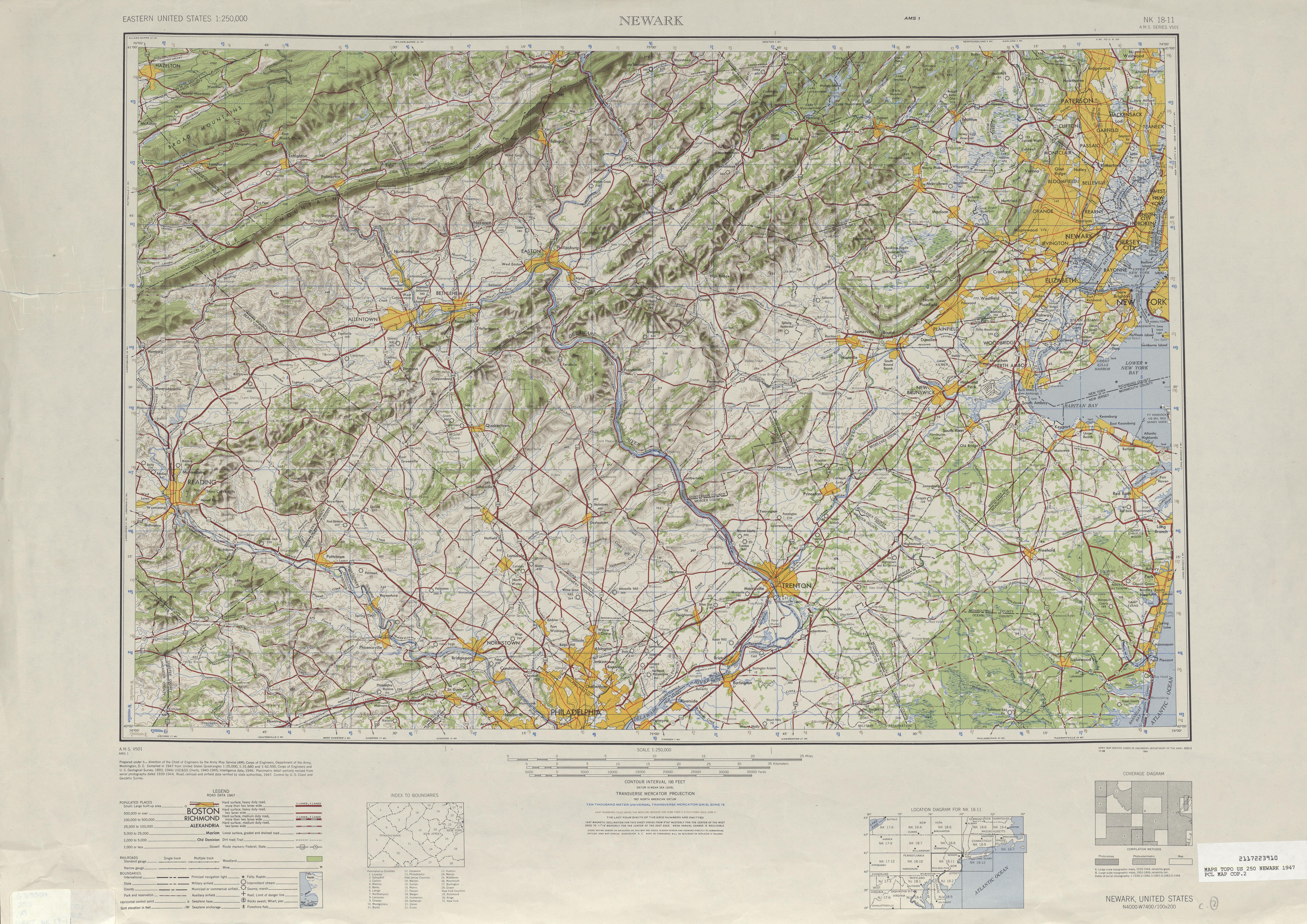 Hoja NeGuerrak del Mapa Topográfico de los Estados Unidos 1947
