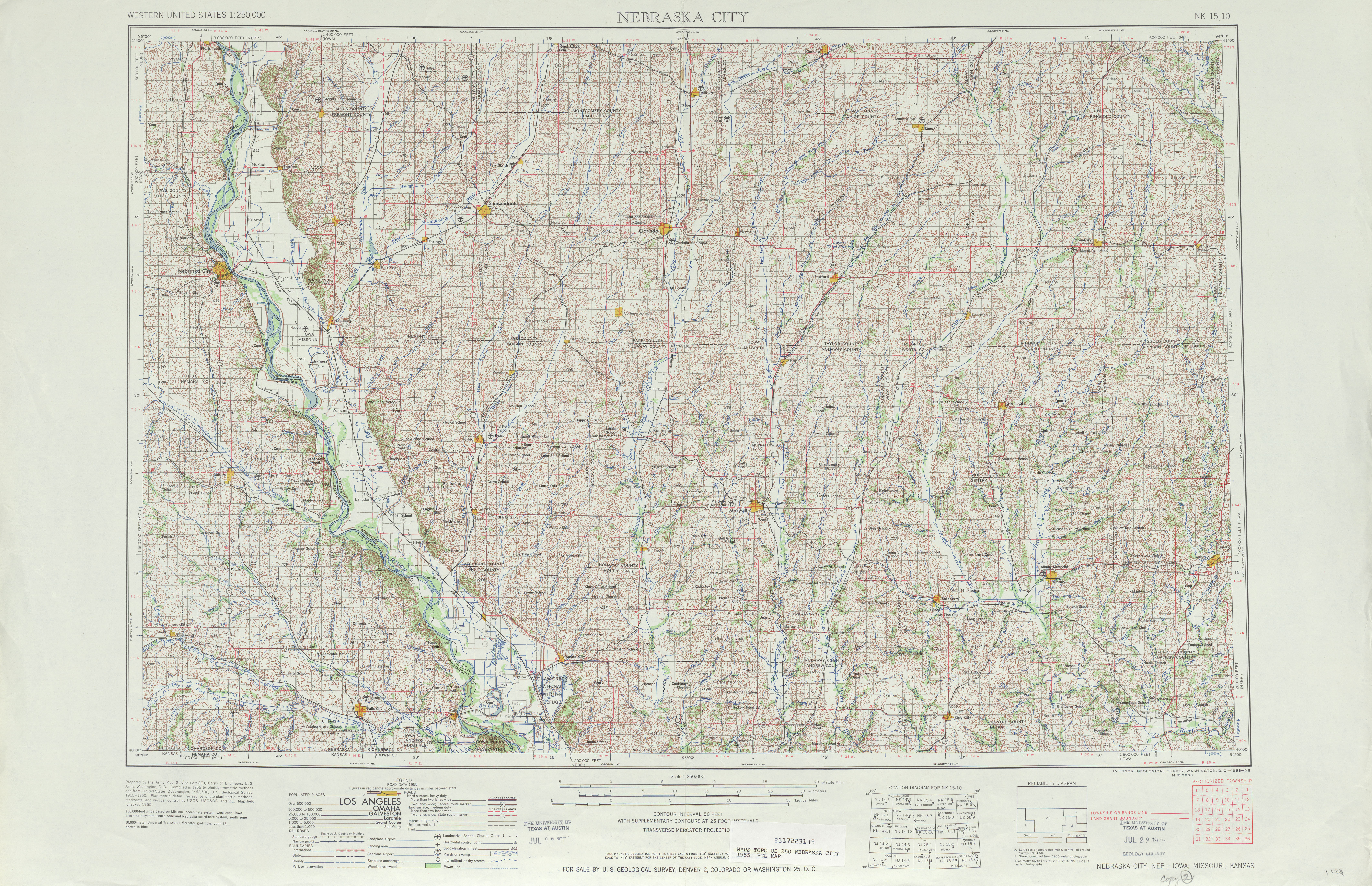 Hoja Nebraska City del Mapa Topográfico de los Estados Unidos 1955
