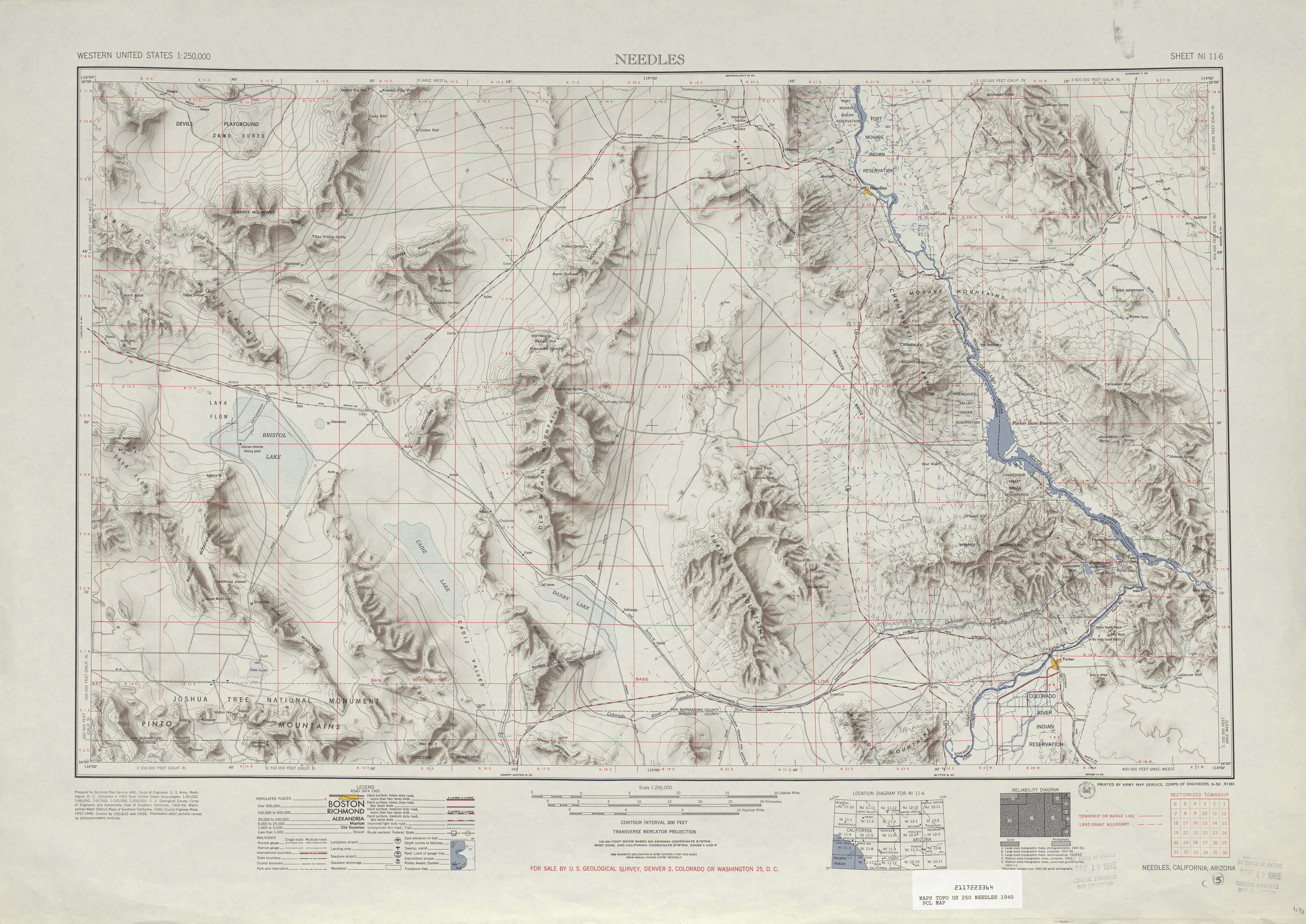 Hoja Needles del Mapa Topográfico de los Estados Unidos 1949