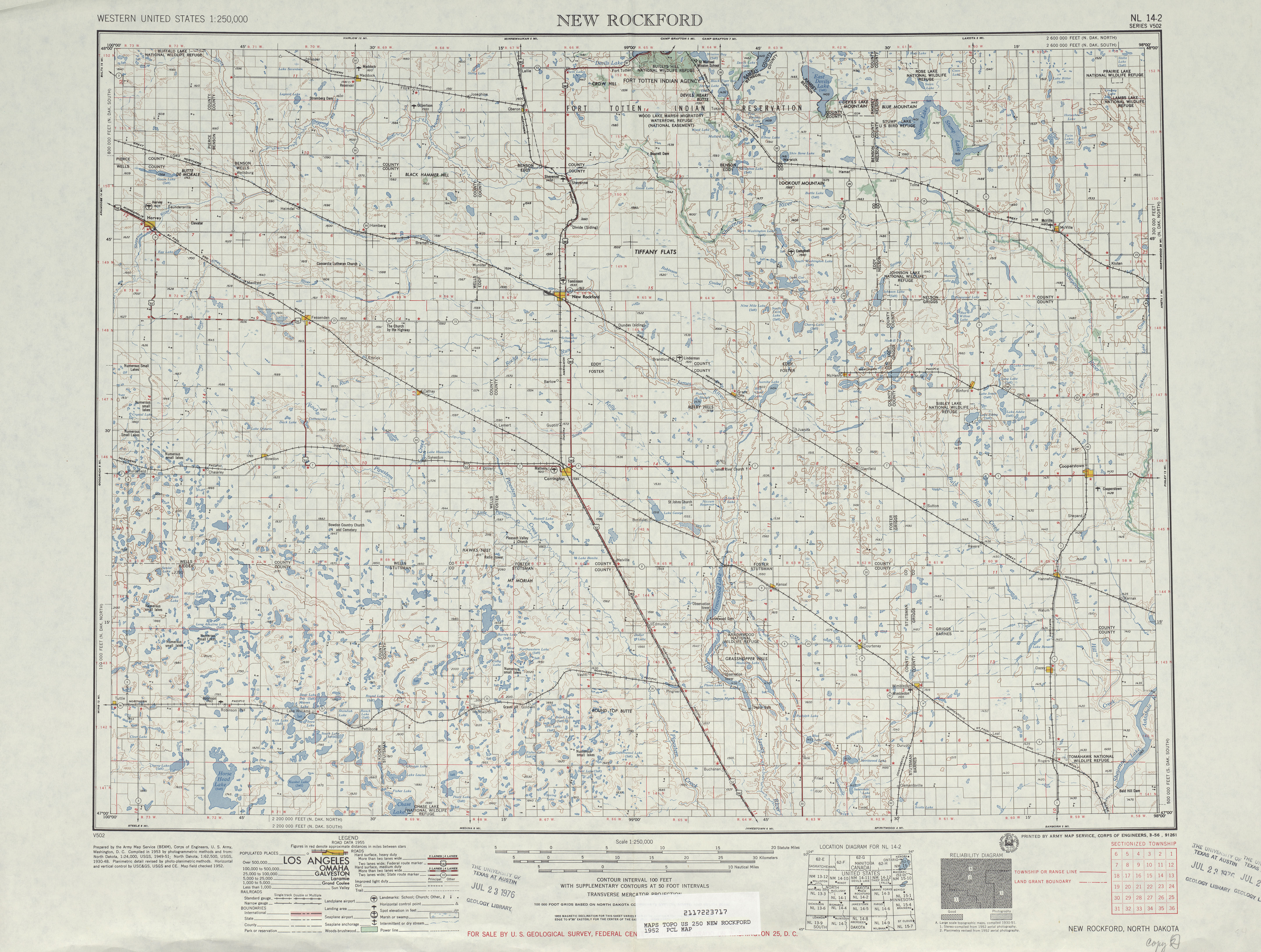New Rockford Topographic Map Sheet, United States 1952