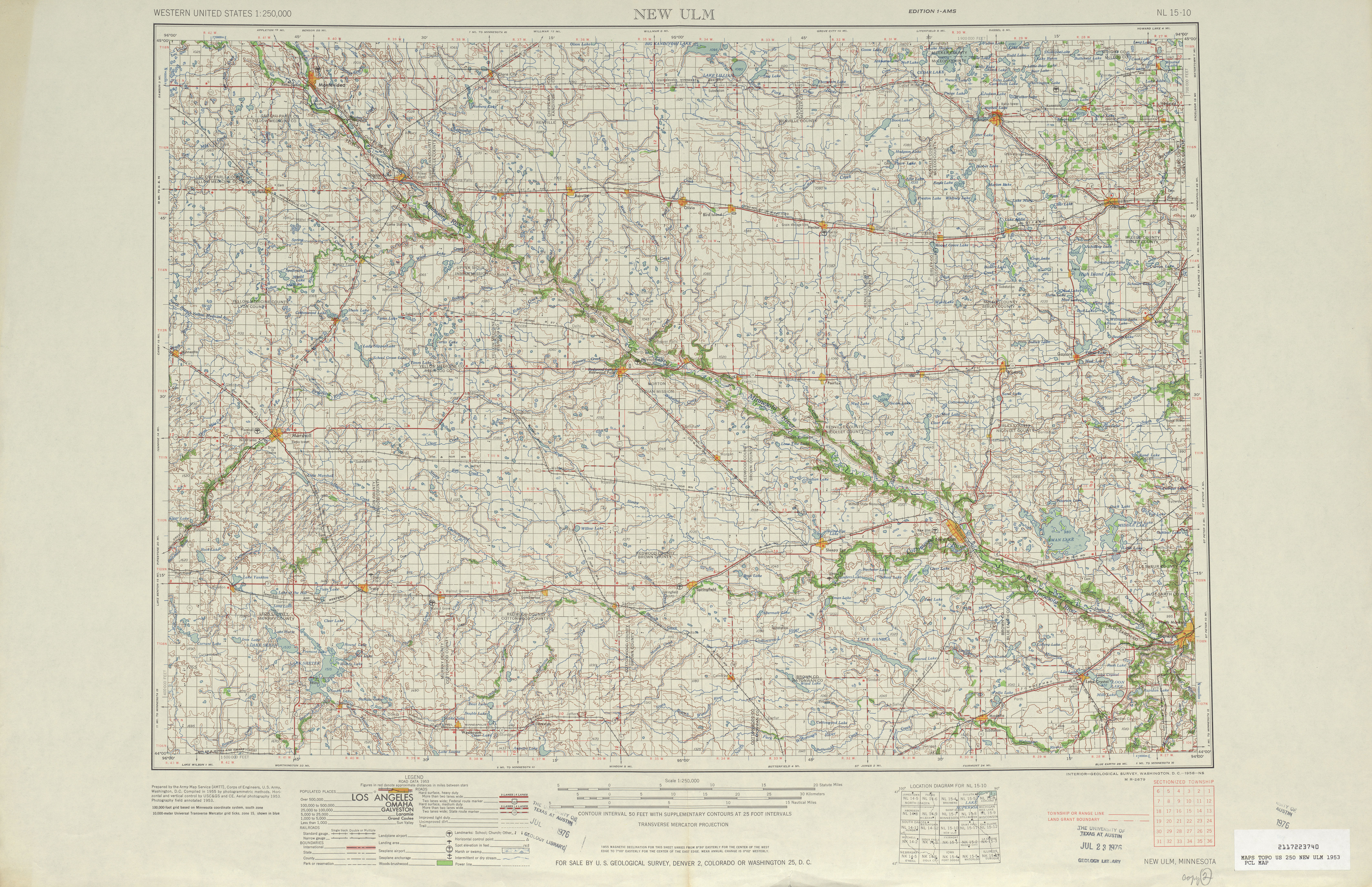 Hoja New Ulm del Mapa Topográfico de los Estados Unidos 1953