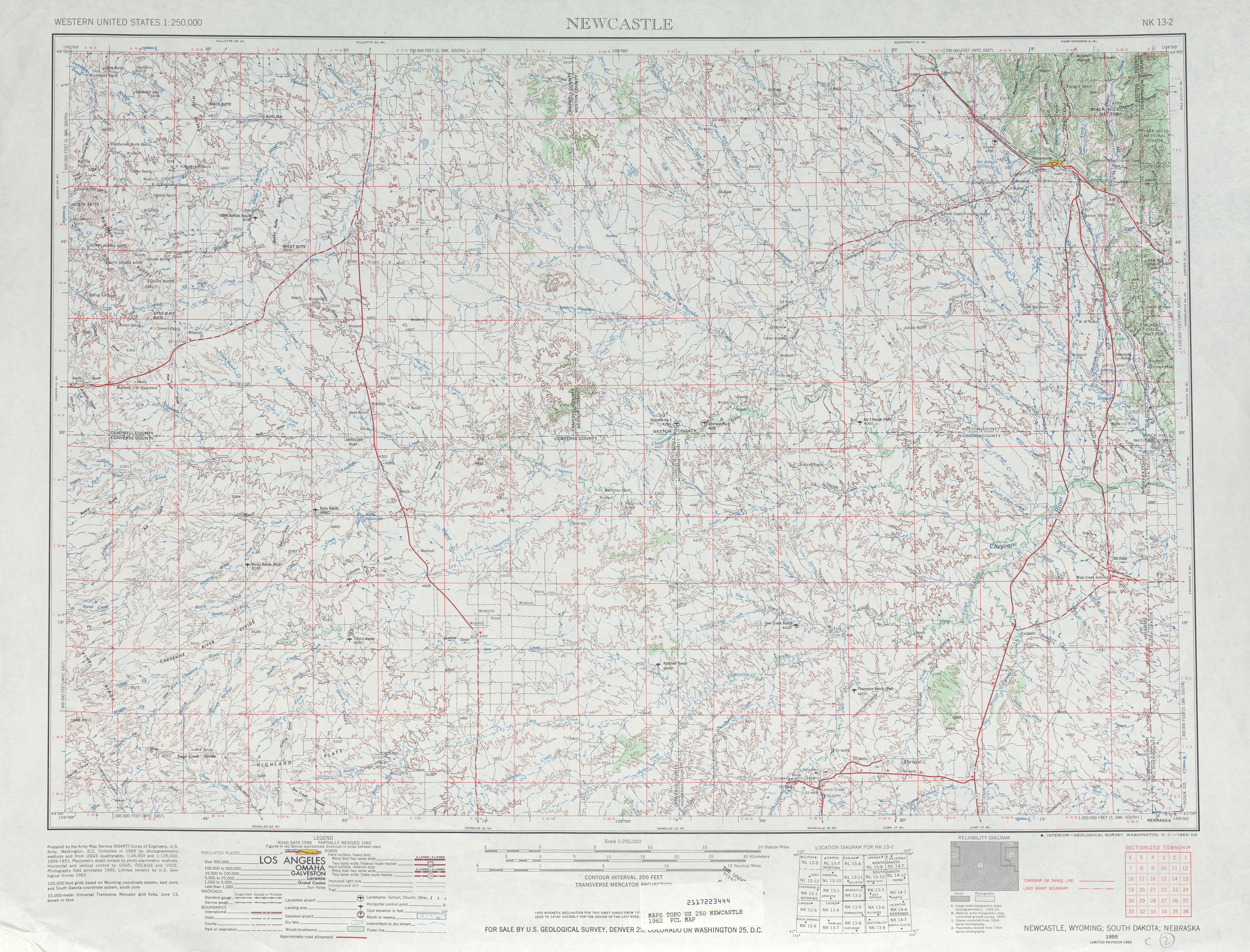 Hoja NewCastillo del Mapa Topográfico de los Estados Unidos 1962