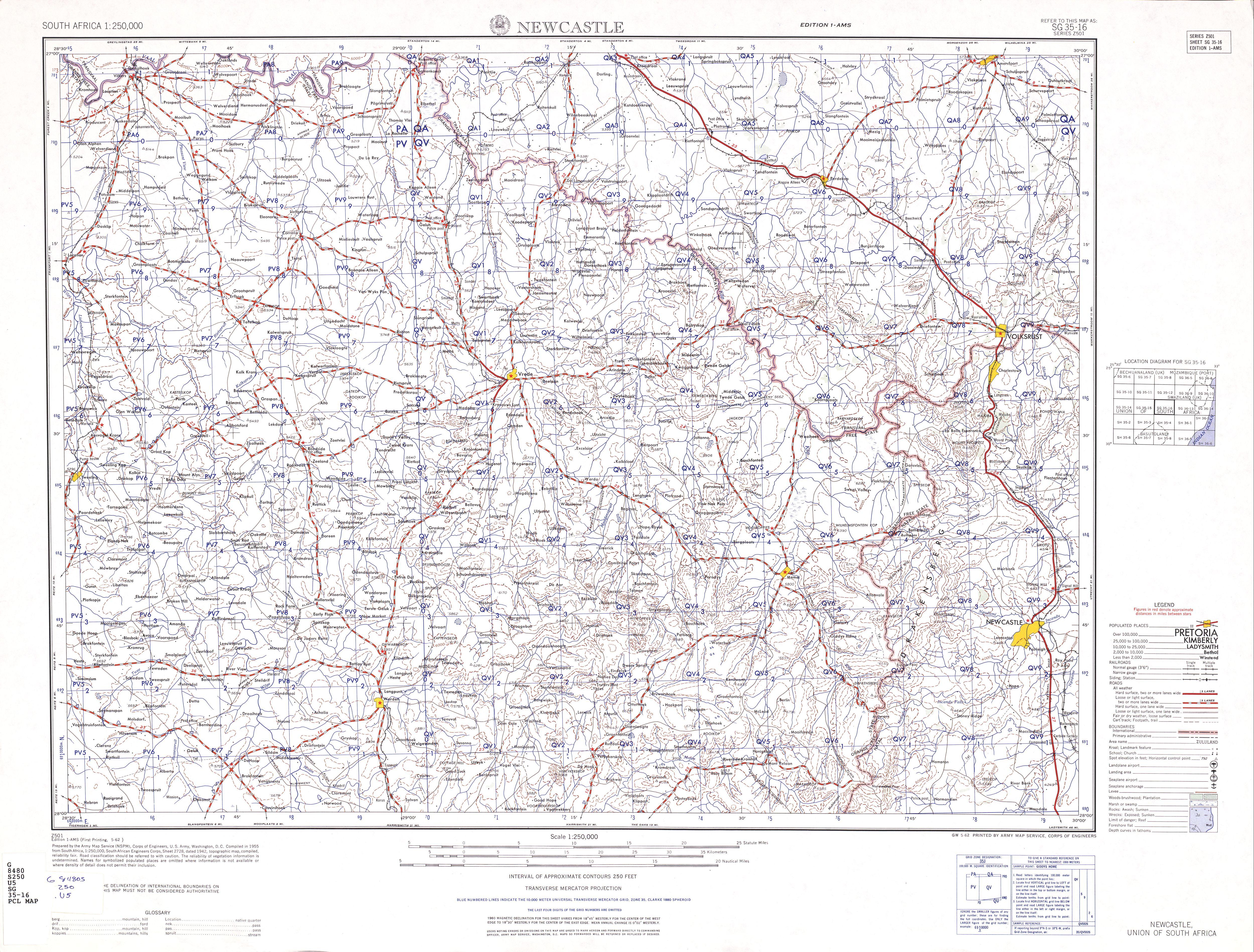 Hoja Newcastle del Mapa Topográfico de África Meridional 1954