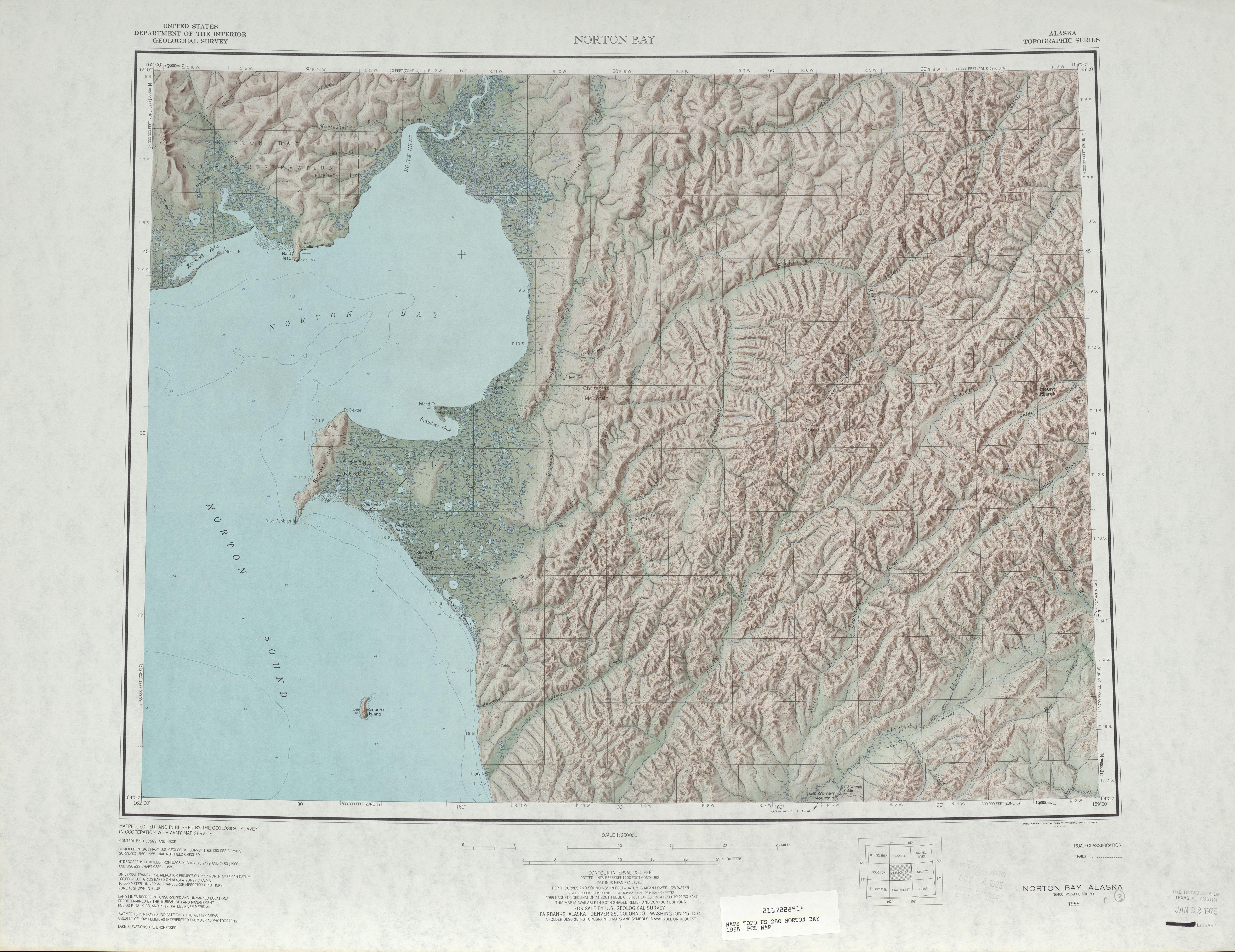 Hoja Norton Bay del Mapa Topográfico de los Estados Unidos 1955