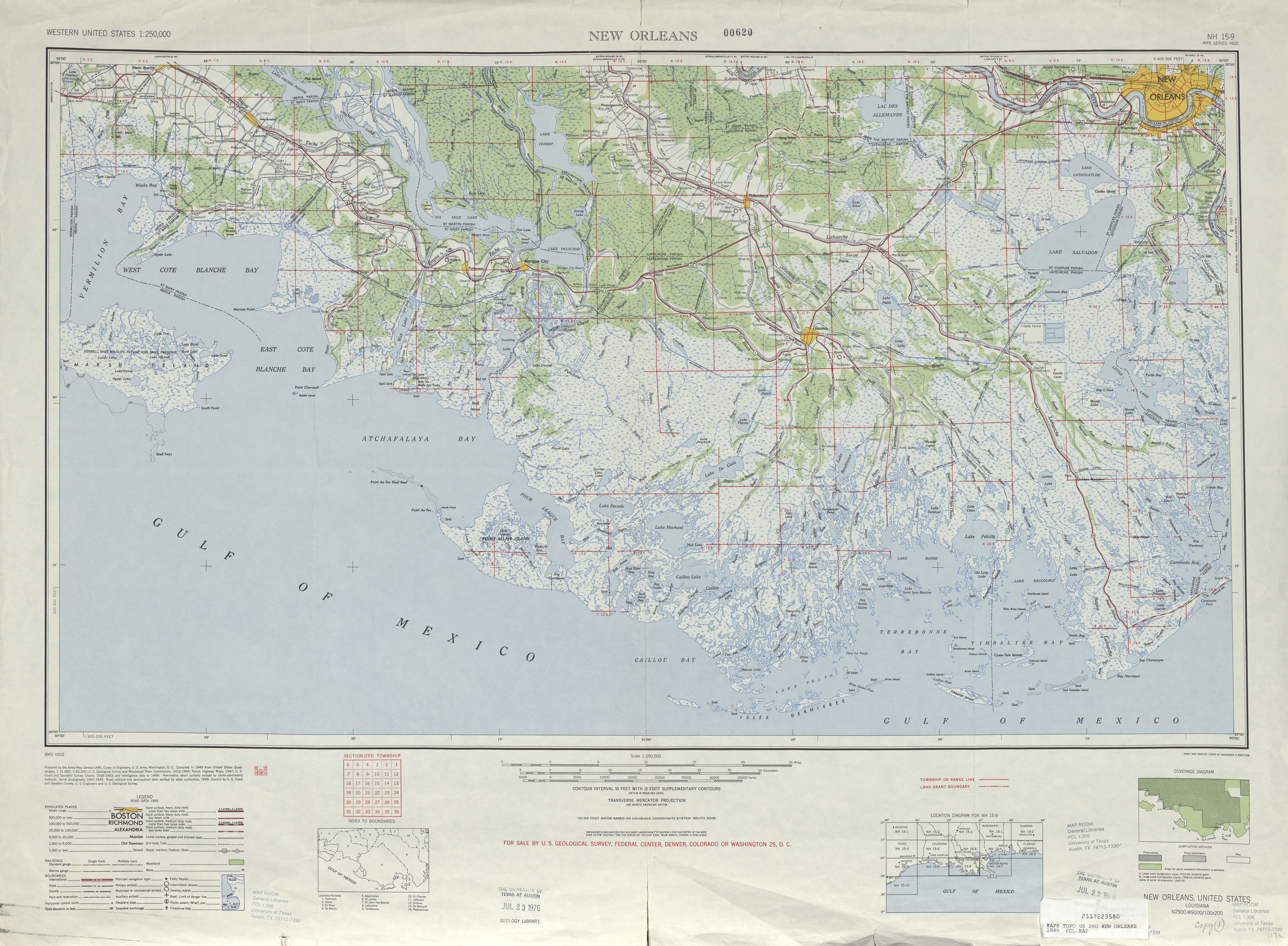 New Orleans Topographic Map Sheet, United States 1949