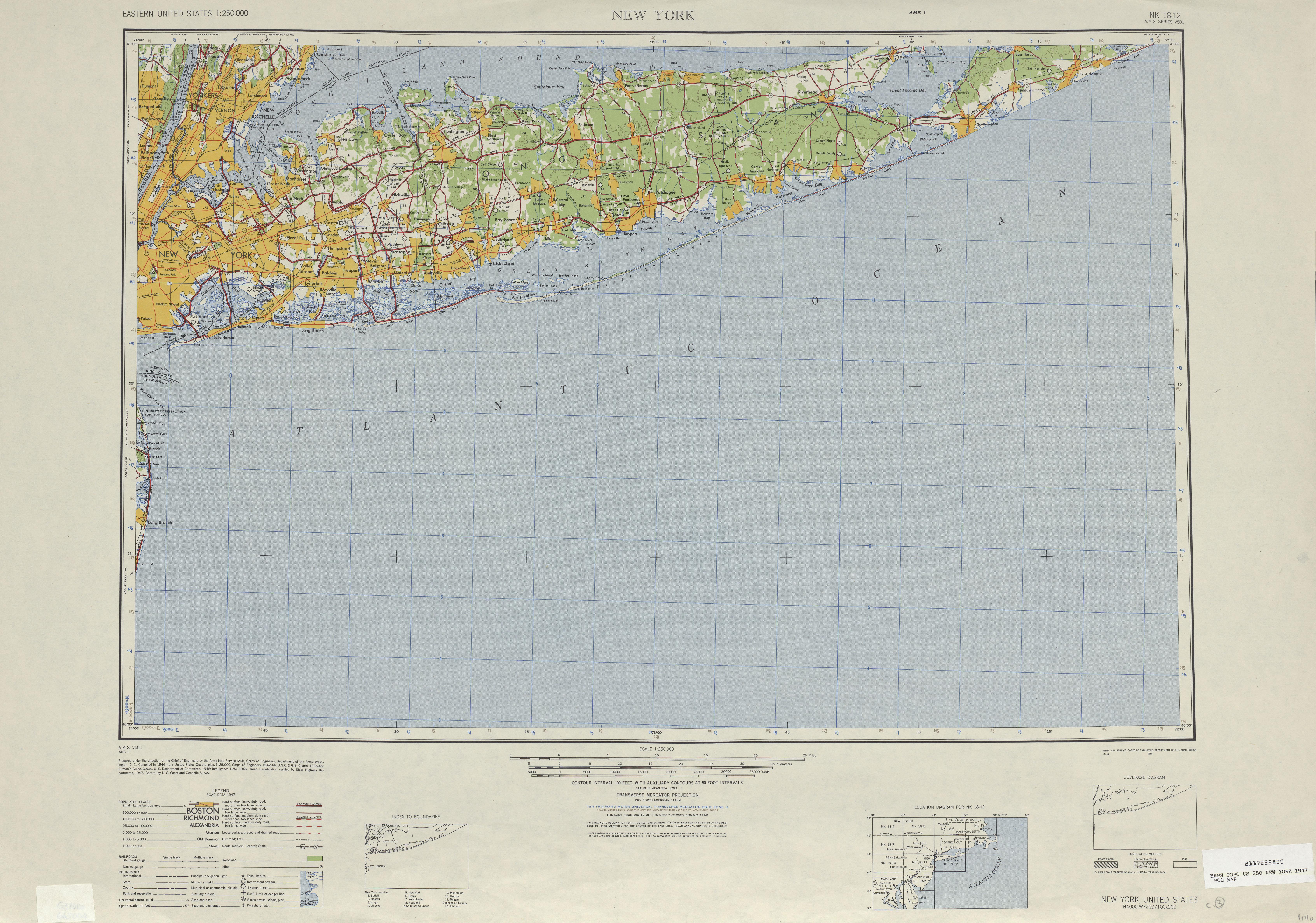 Hoja Nueva York del Mapa Topográfico de los Estados Unidos 1947