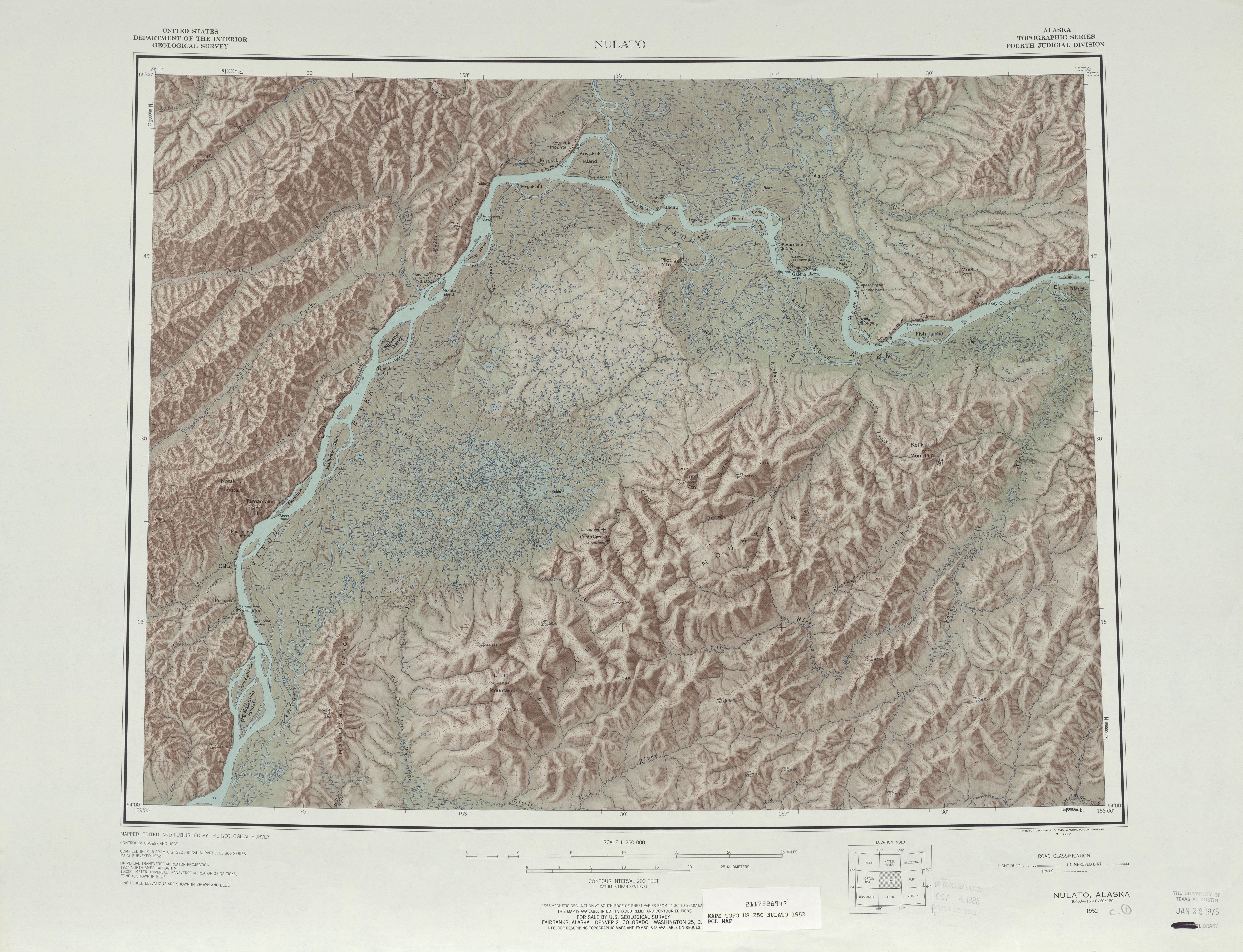 Hoja Nulato del Mapa Topográfico de los Estados Unidos 1952