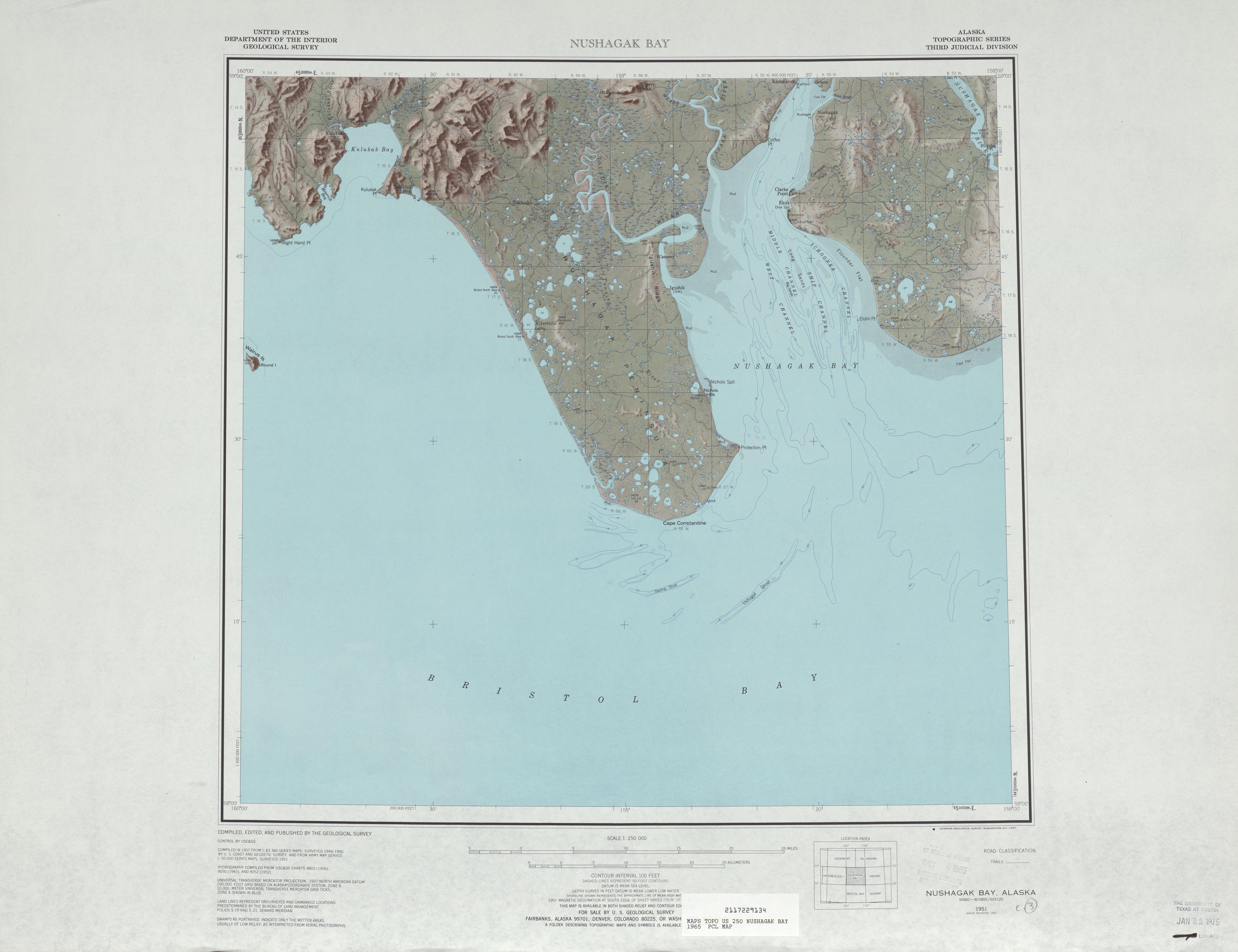 Nushagak Bay Topographic Map Sheet, United States 1965