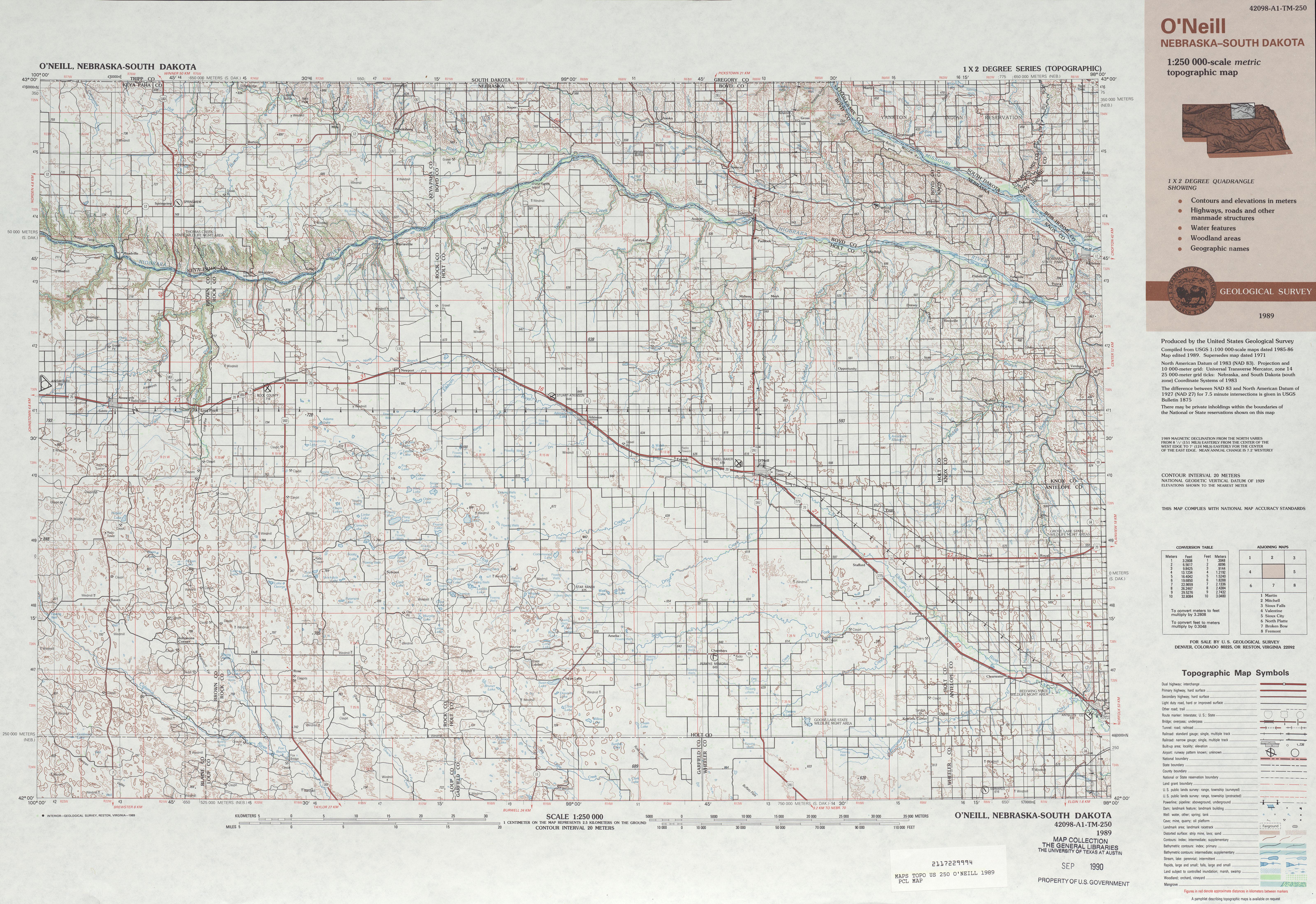 Hoja O'neill del Mapa Topográfico de los Estados Unidos 1989