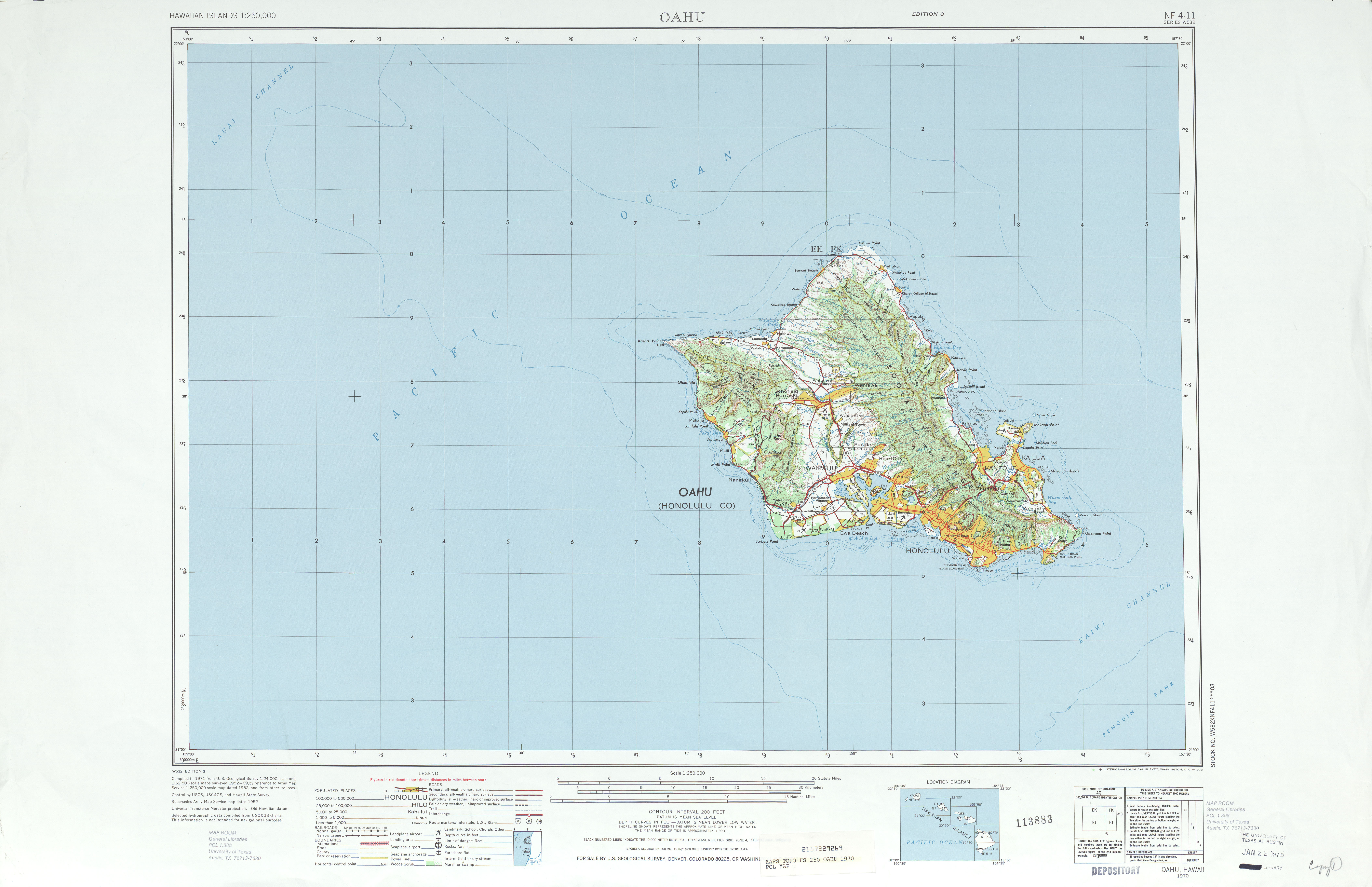 Oahu Topographic Map Sheet, United States 1970