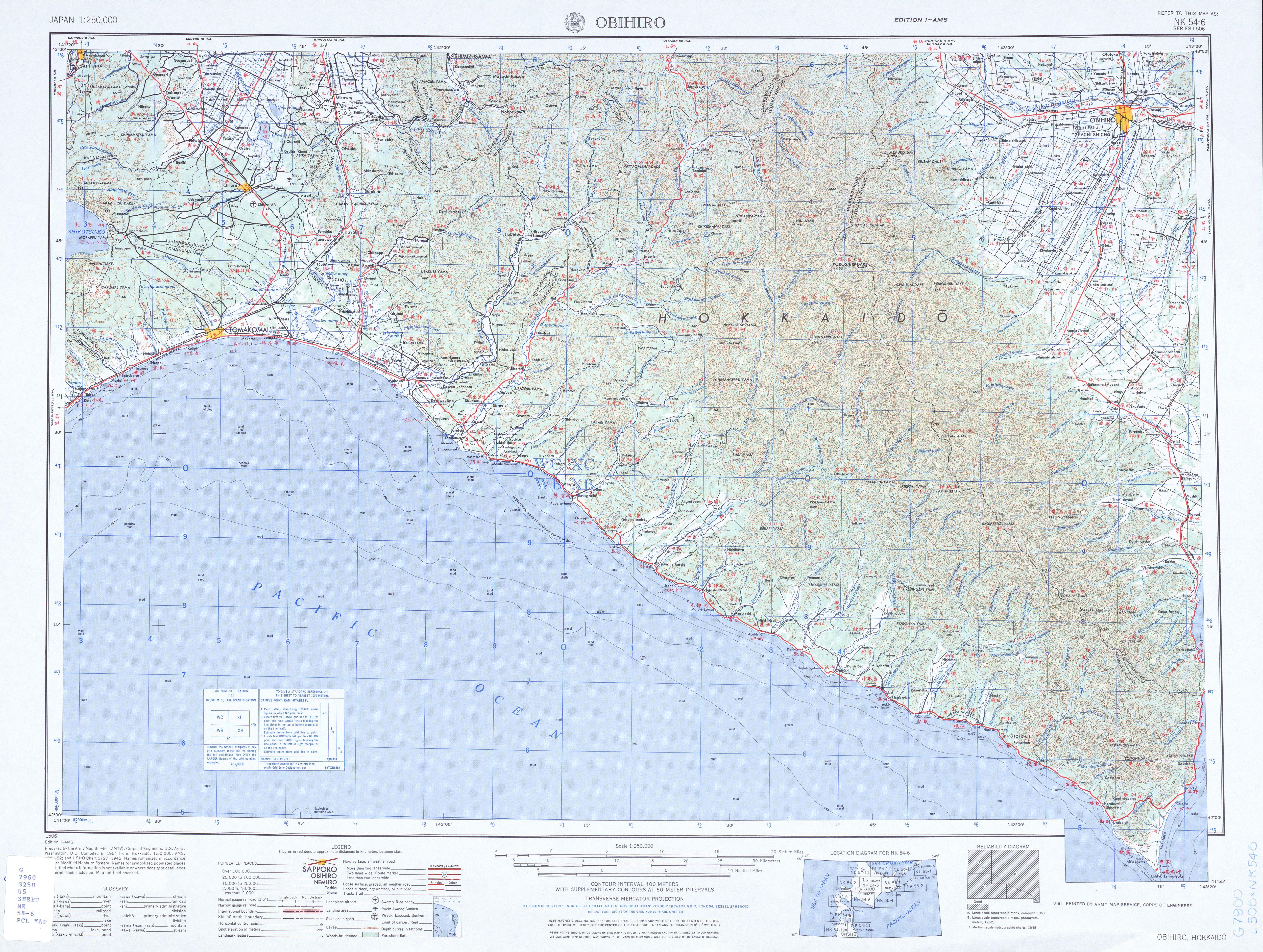 Obihiro Topographic Map Sheet, Japan 1954