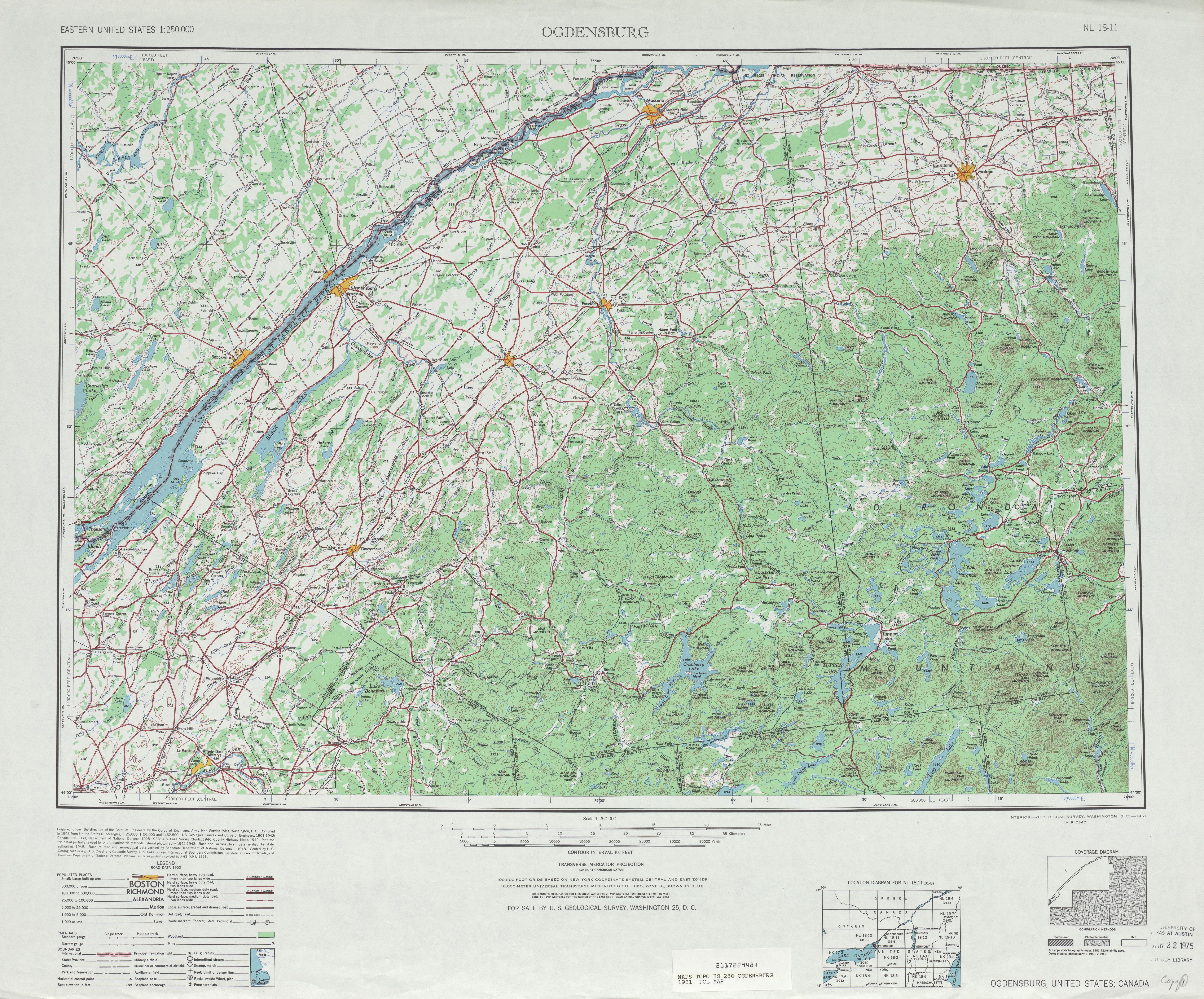 Ogdensburg Topographic Map Sheet, United States 1951