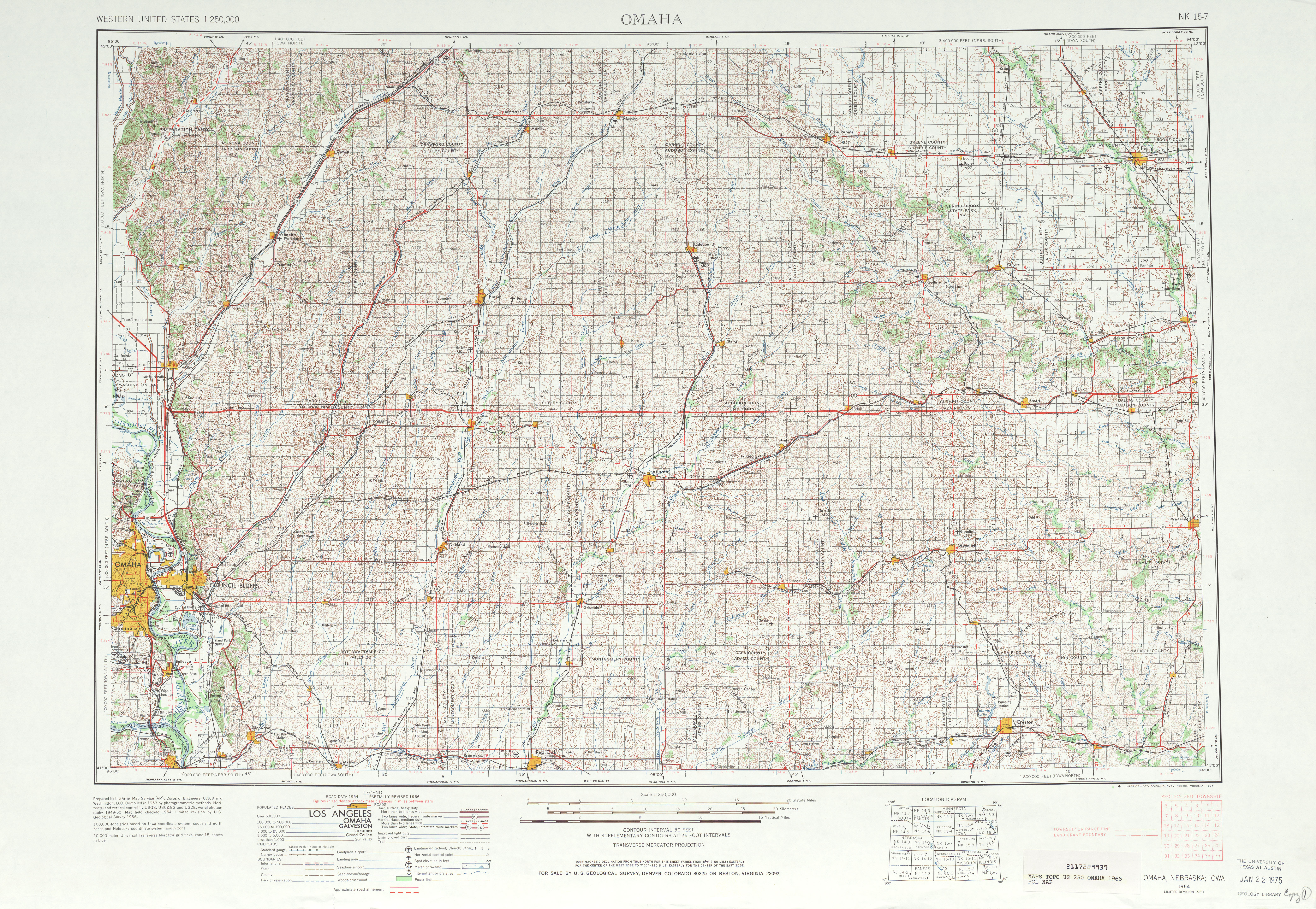 Omaha Topographic Map Sheet, United States 1966