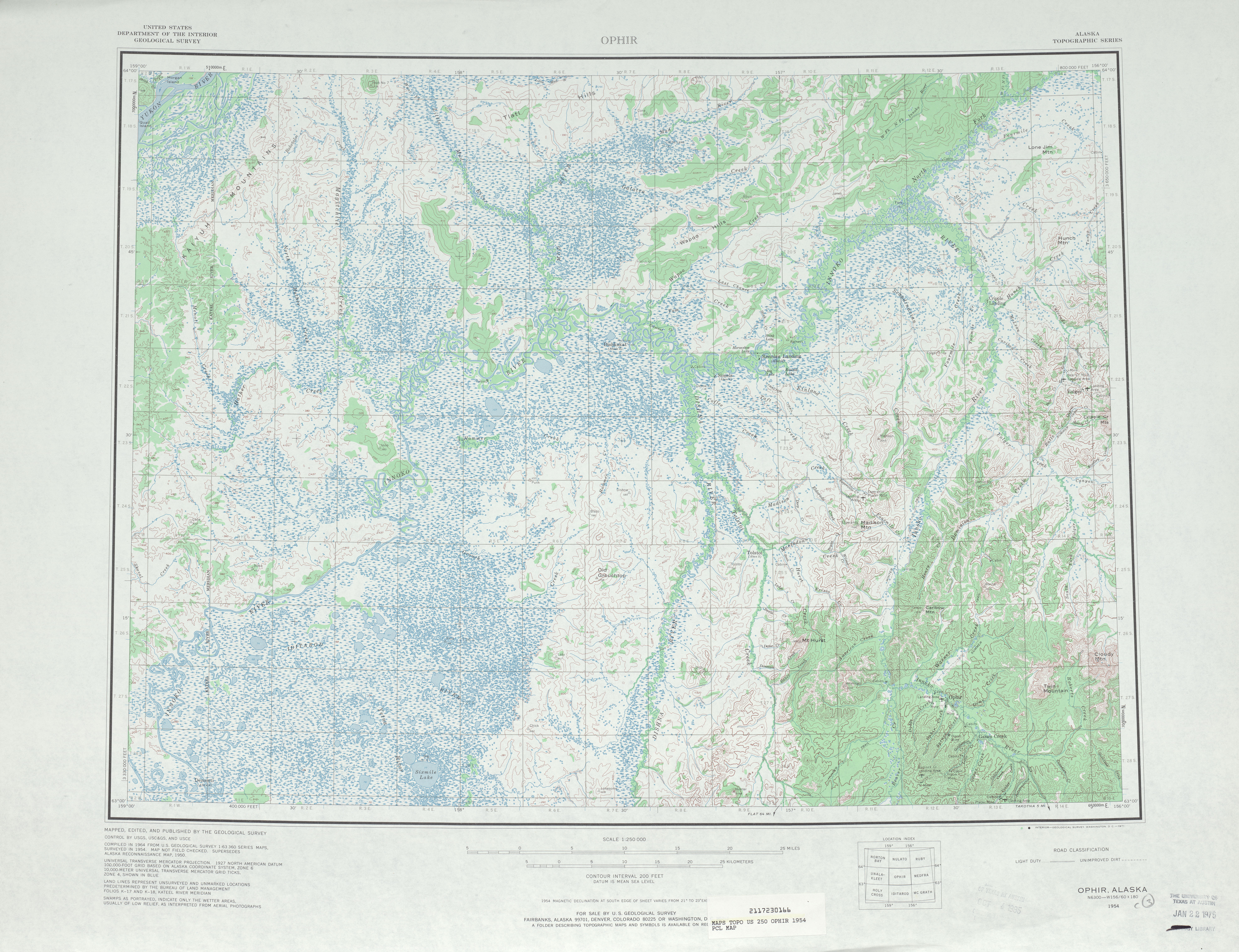 Ophir Topographic Map Sheet, United States 1954