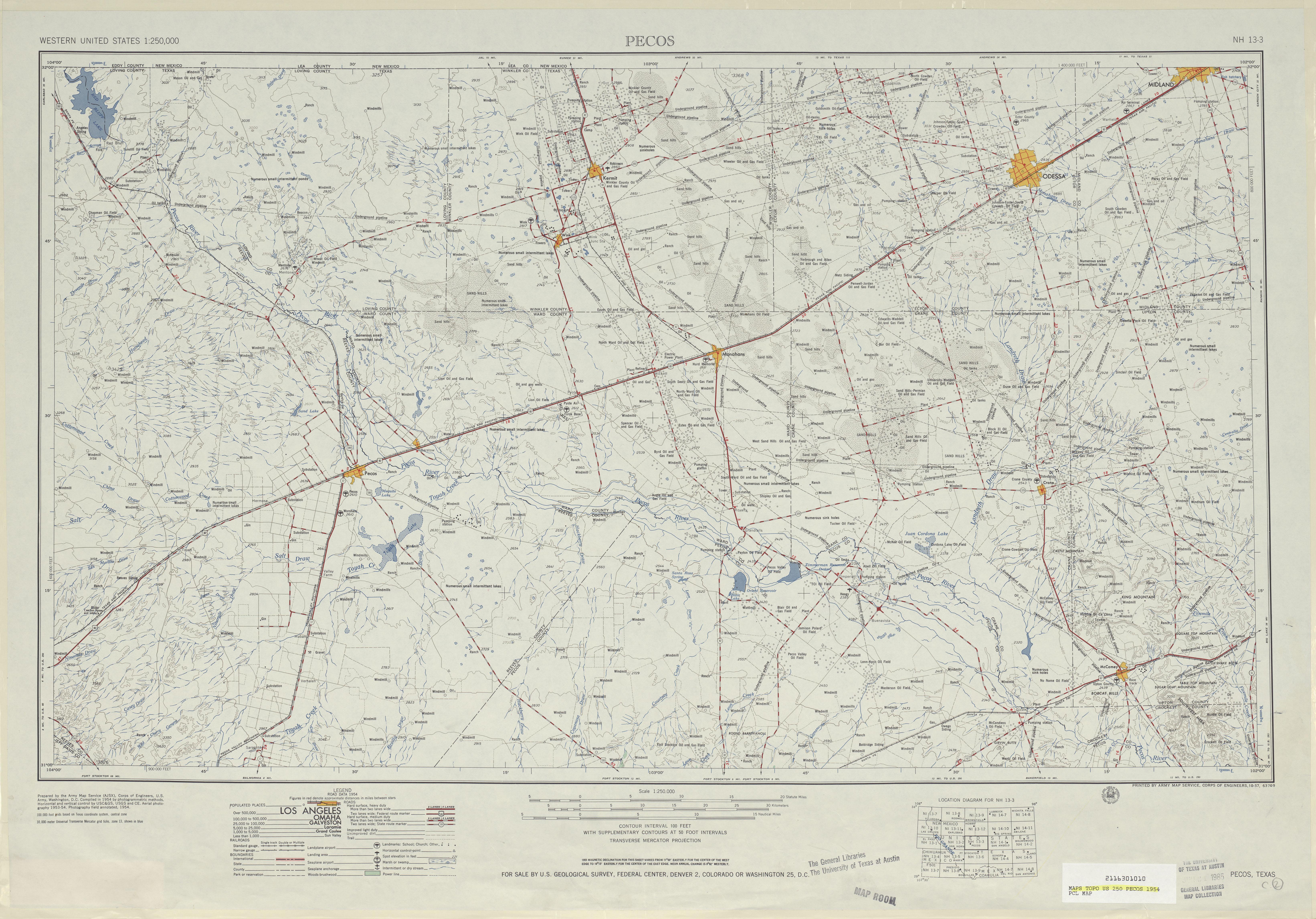 Hoja Pecos del Mapa Topográfico de los Estados Unidos 1954