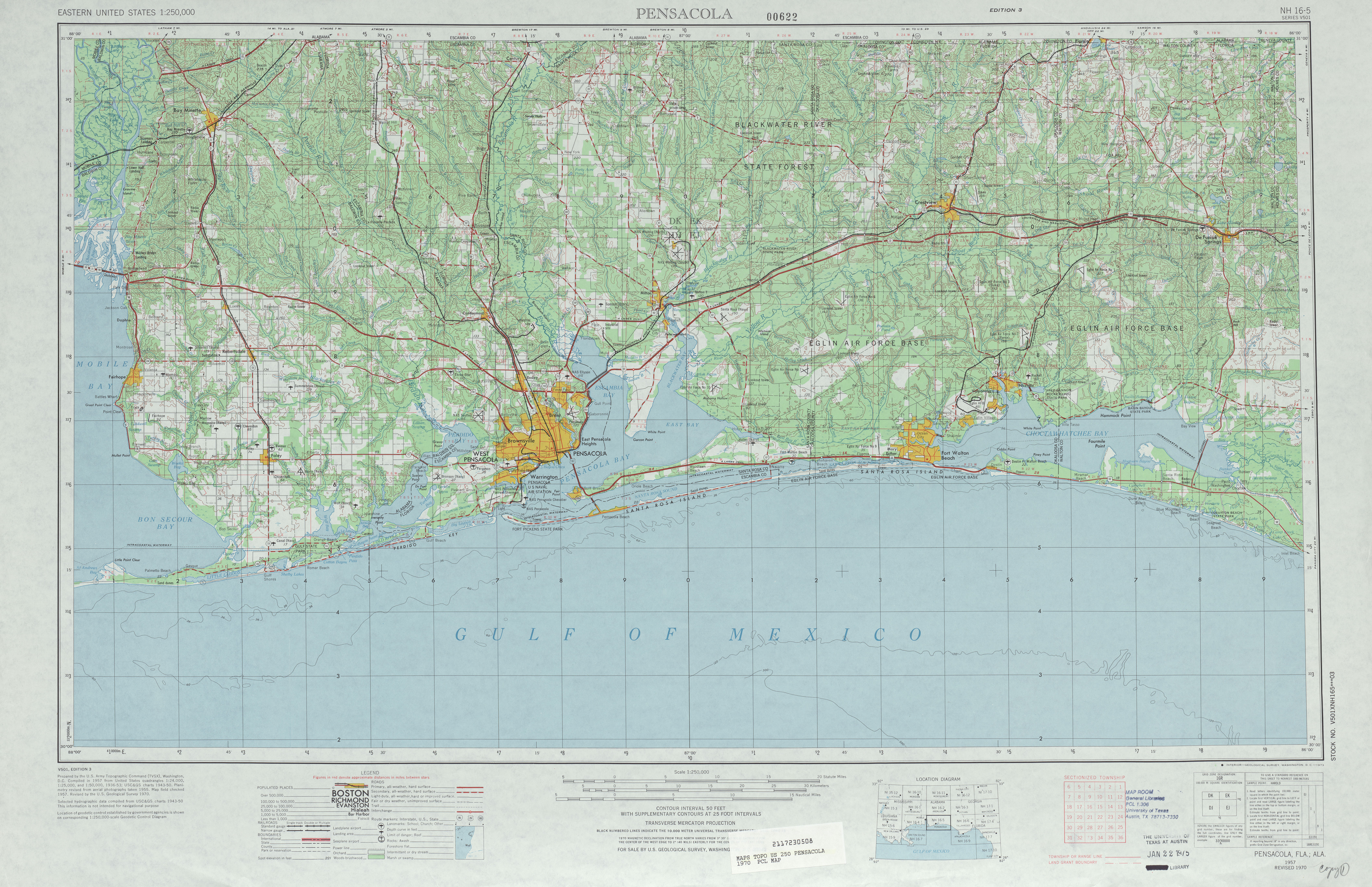 Pensacola Topographic Map Sheet, United States 1970