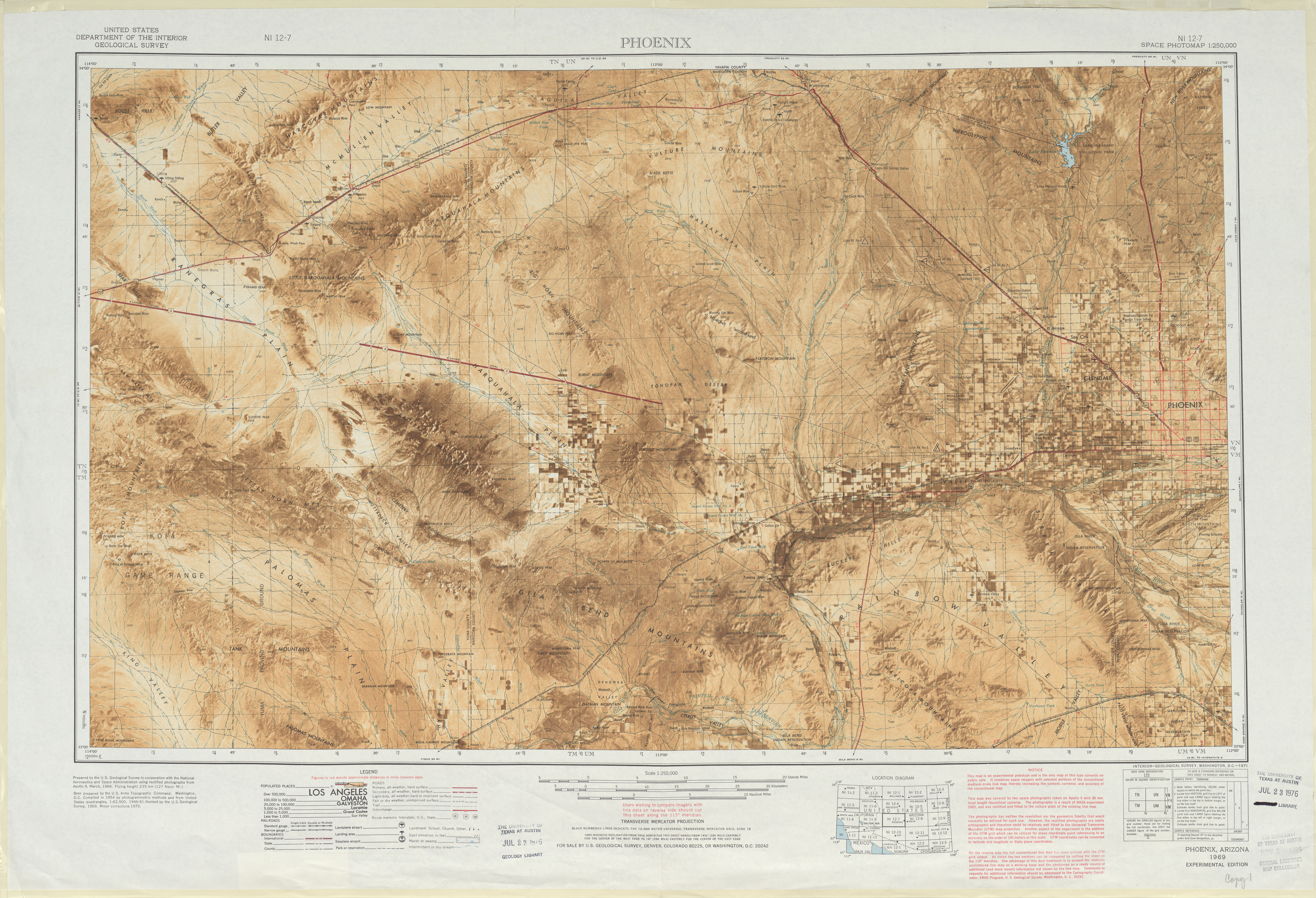 Hoja Phoenix del Fotomapa Espacial de los Estados Unidos 1970