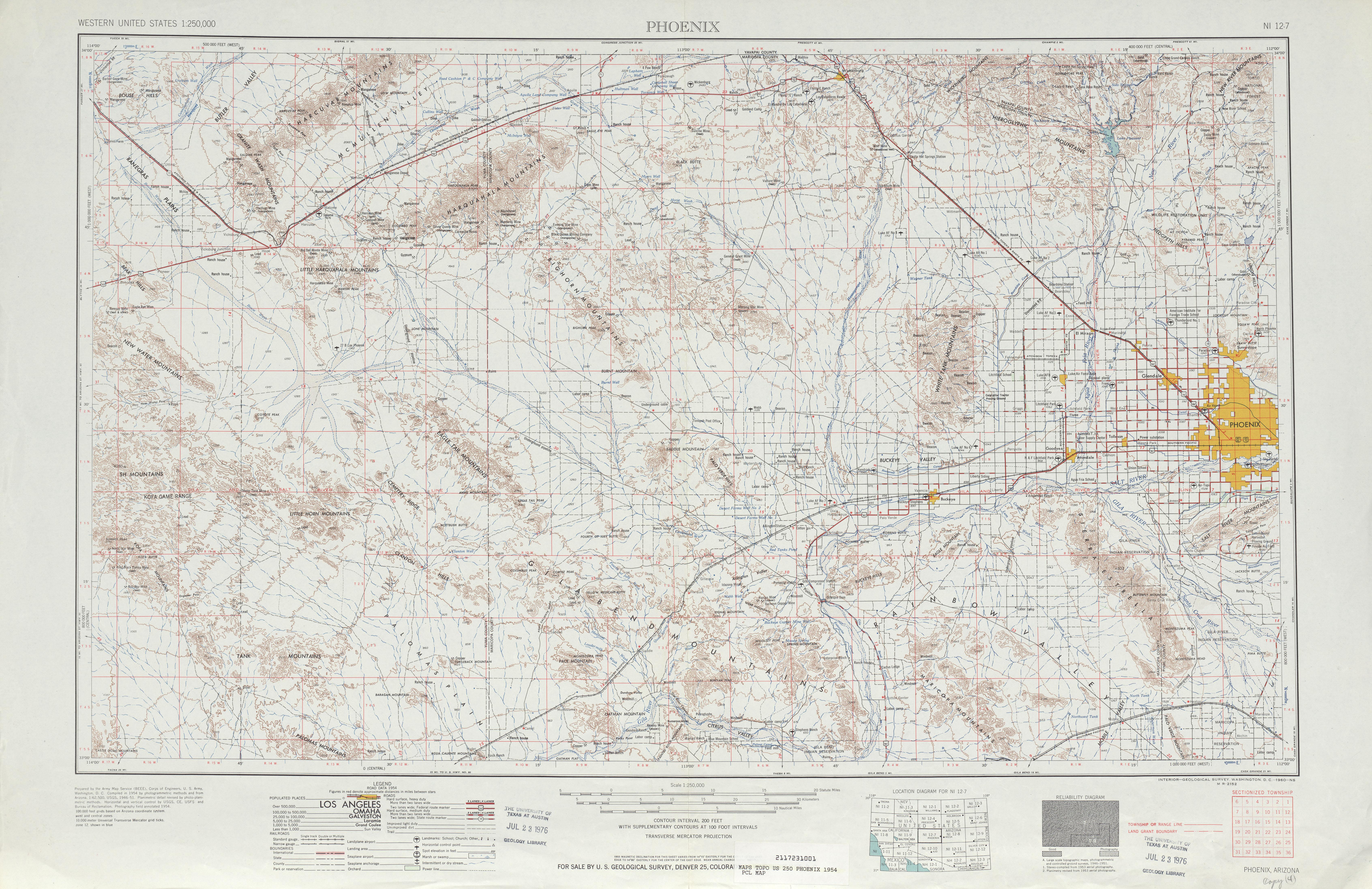 Hoja Phoenix del Mapa Topográfico de los Estados Unidos 1954