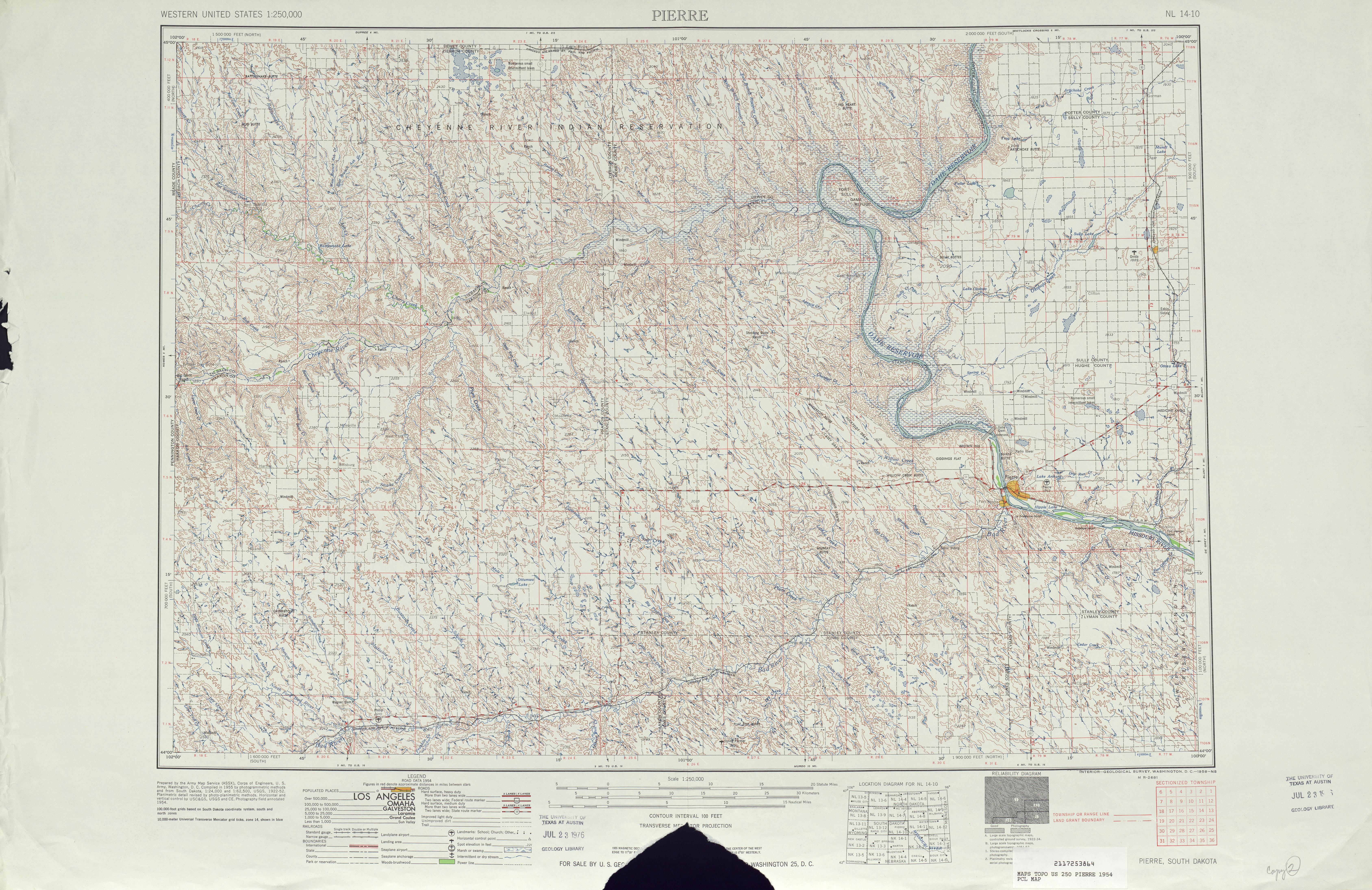 Hoja Pierre del Mapa Topográfico de los Estados Unidos 1954