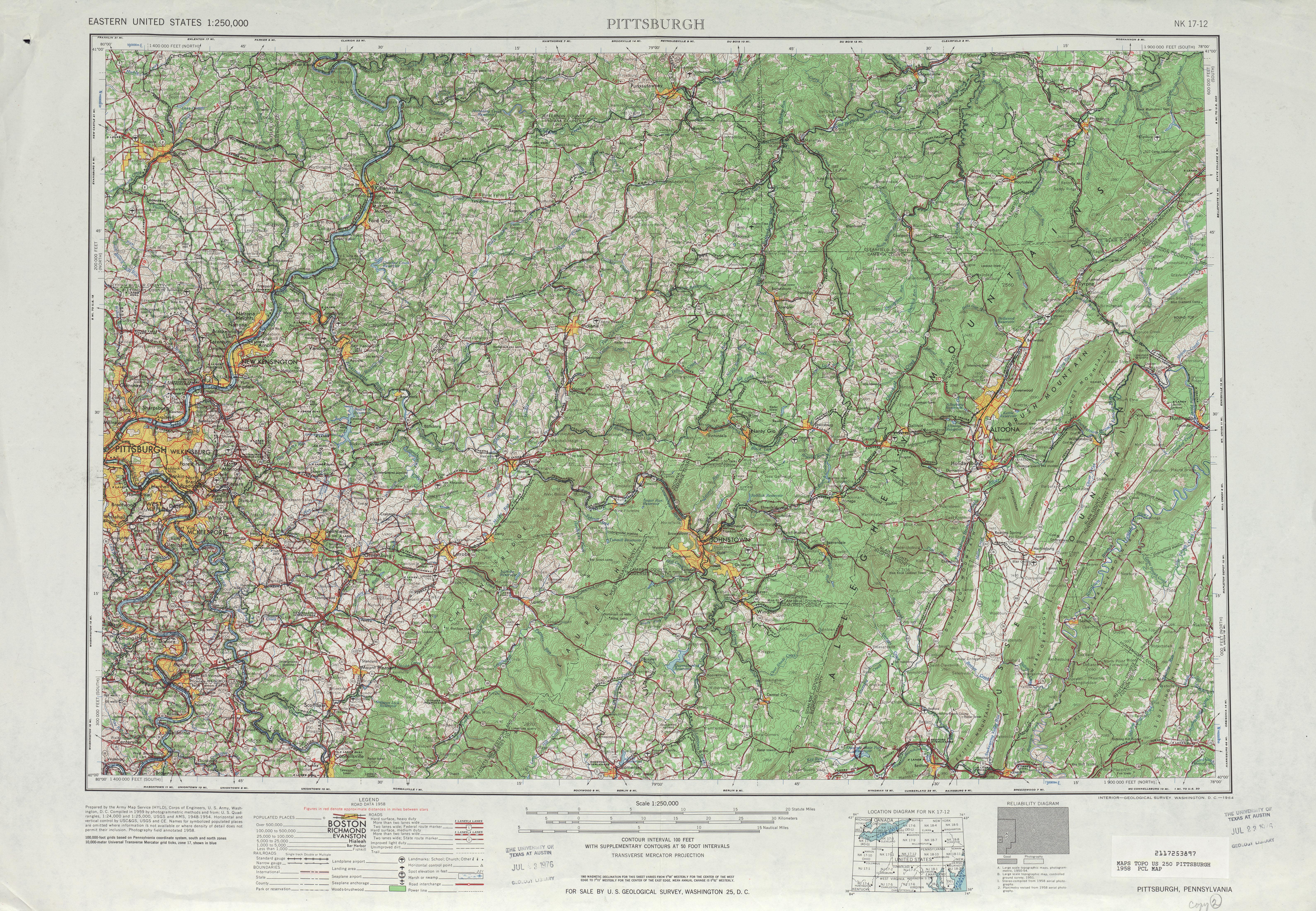 Hoja Pittsburgh del Mapa Topográfico de los Estados Unidos 1958