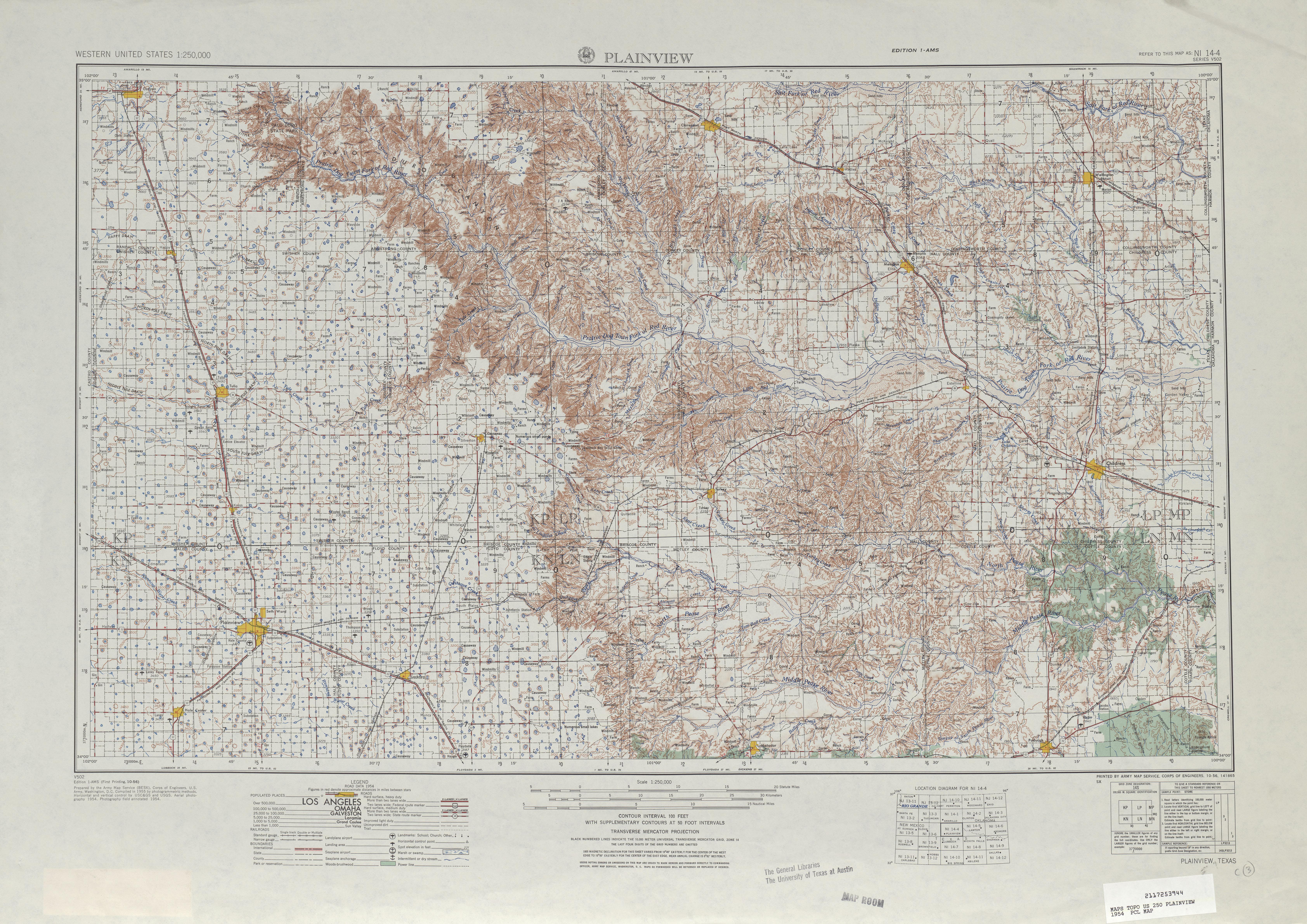 Hoja Plainview del Mapa Topográfico de los Estados Unidos 1954