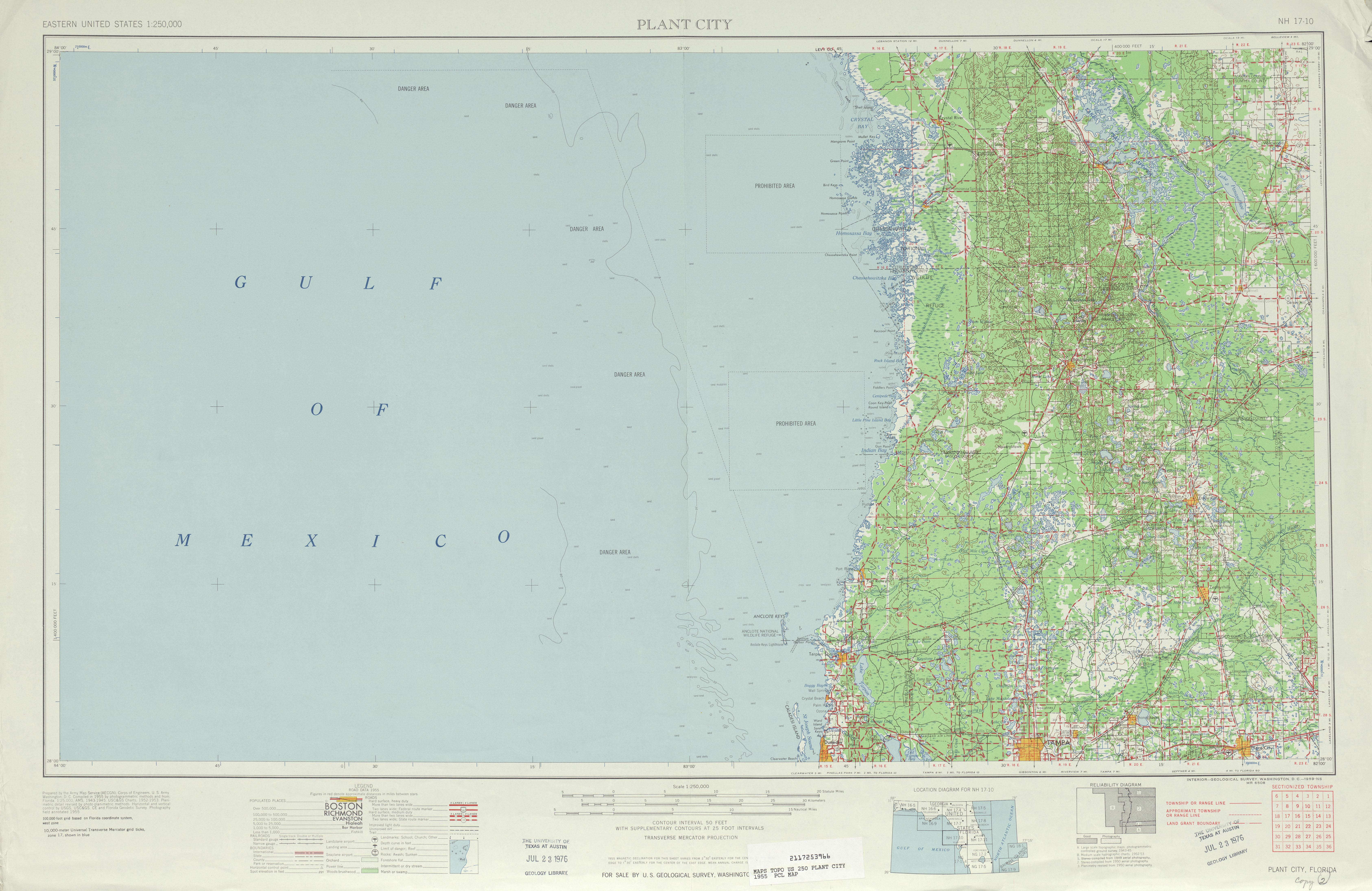 Hoja Plant City del Mapa Topográfico de los Estados Unidos 1955