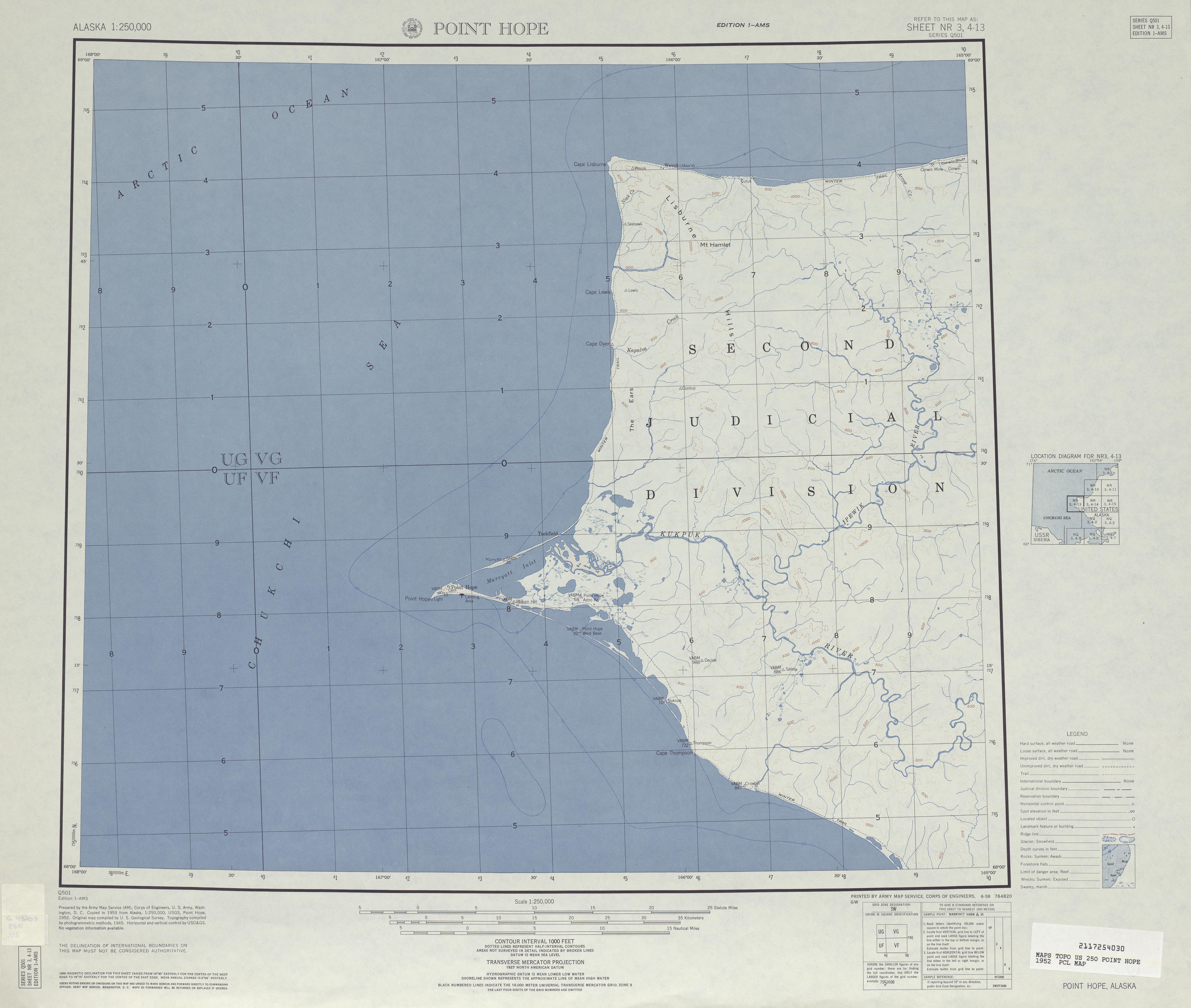 Hoja Point Hope del Mapa Topográfico de los Estados Unidos 1952