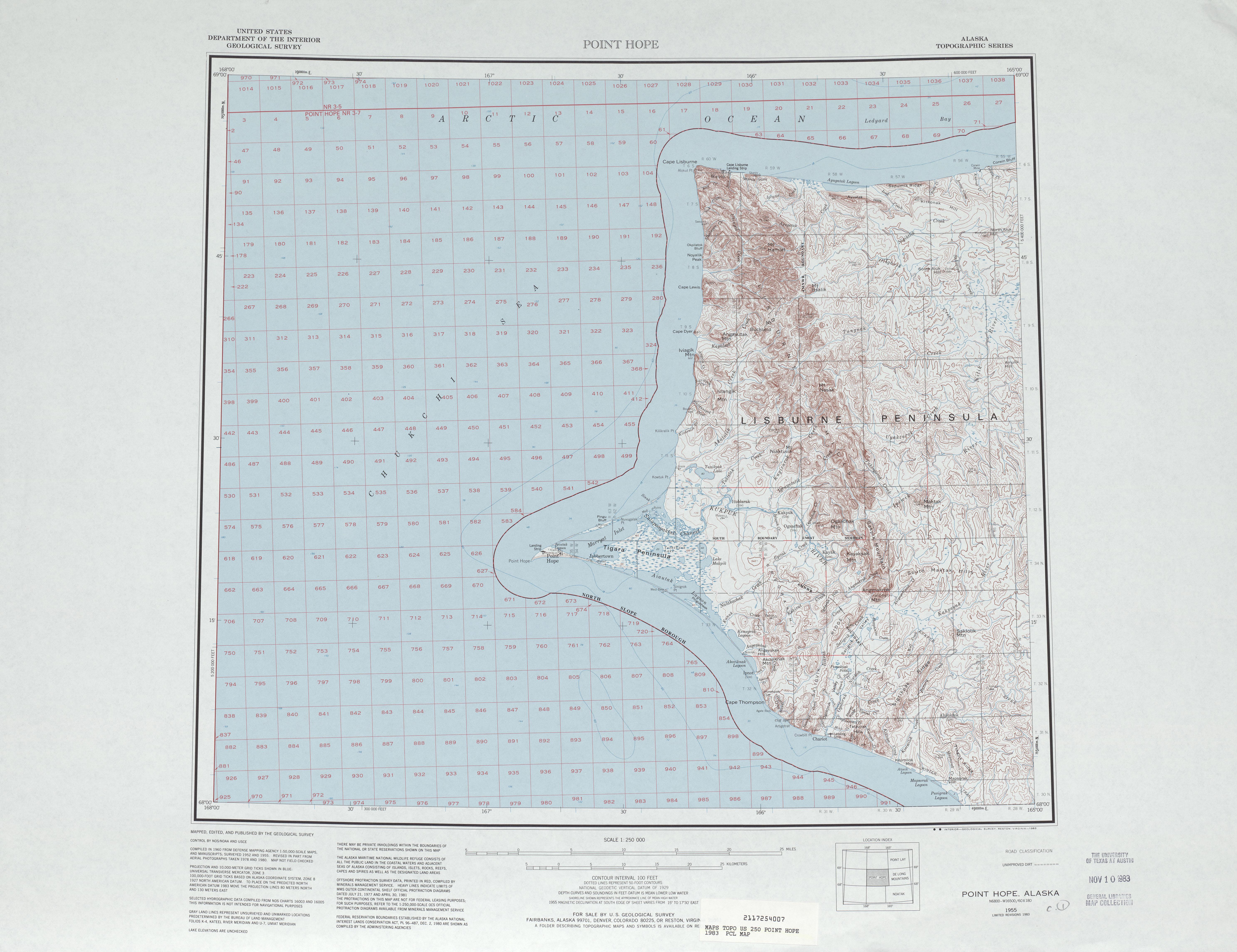 Hoja Point Hope del Mapa Topográfico de los Estados Unidos 1983