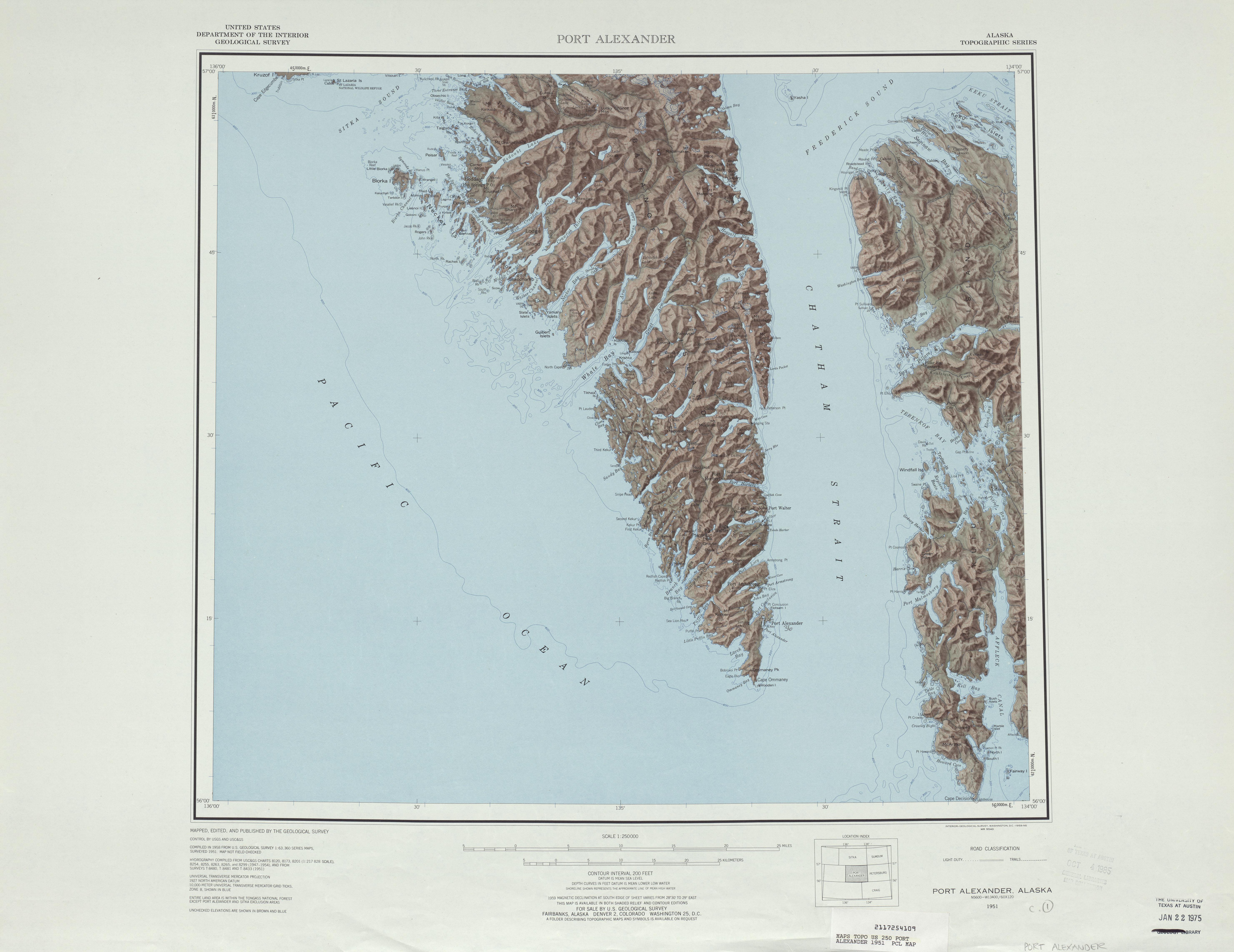 Hoja Port Alexander del Mapa Topográfico de los Estados Unidos 1951