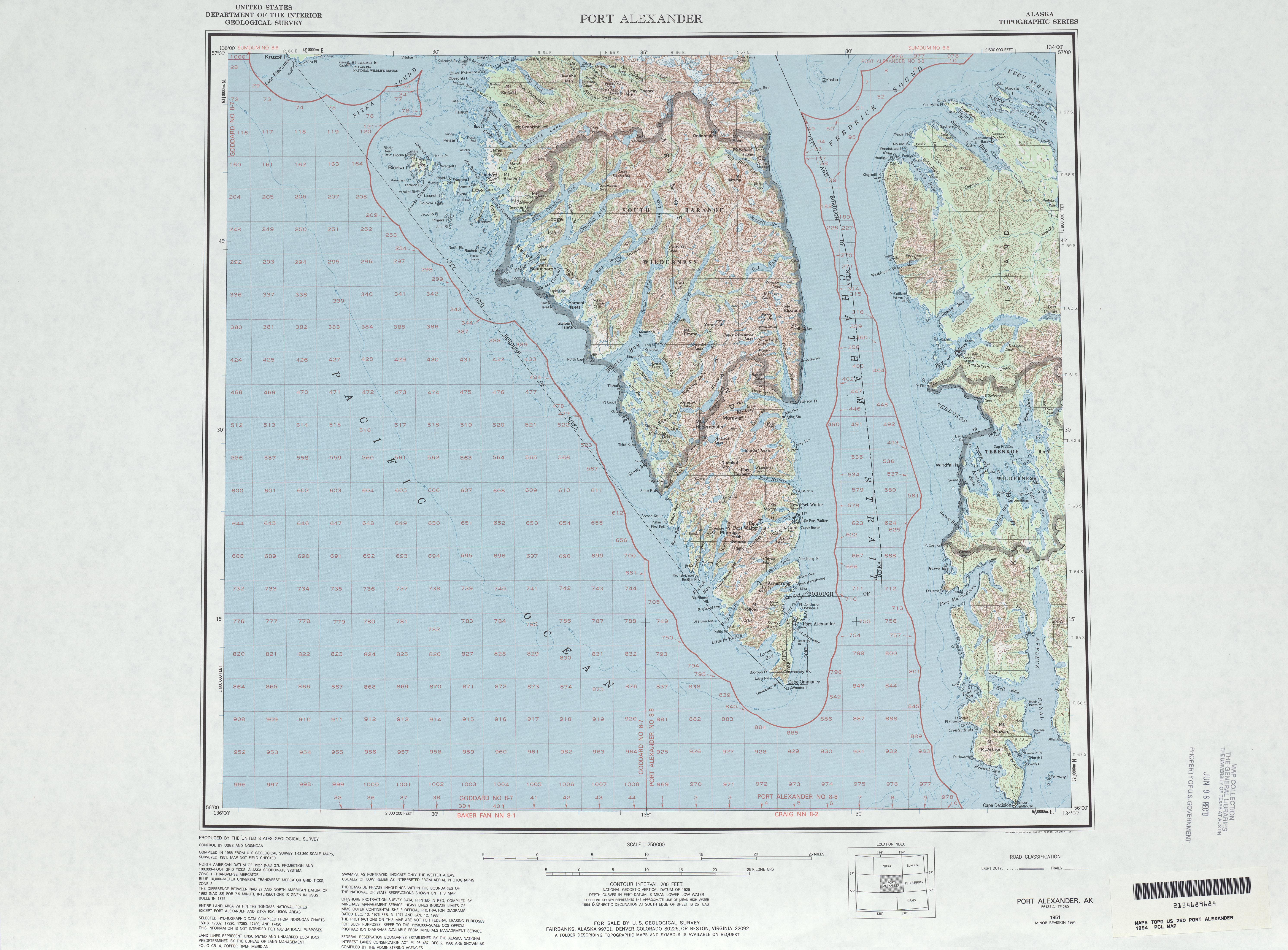 Hoja Port Alexander del Mapa Topográfico de los Estados Unidos 1994