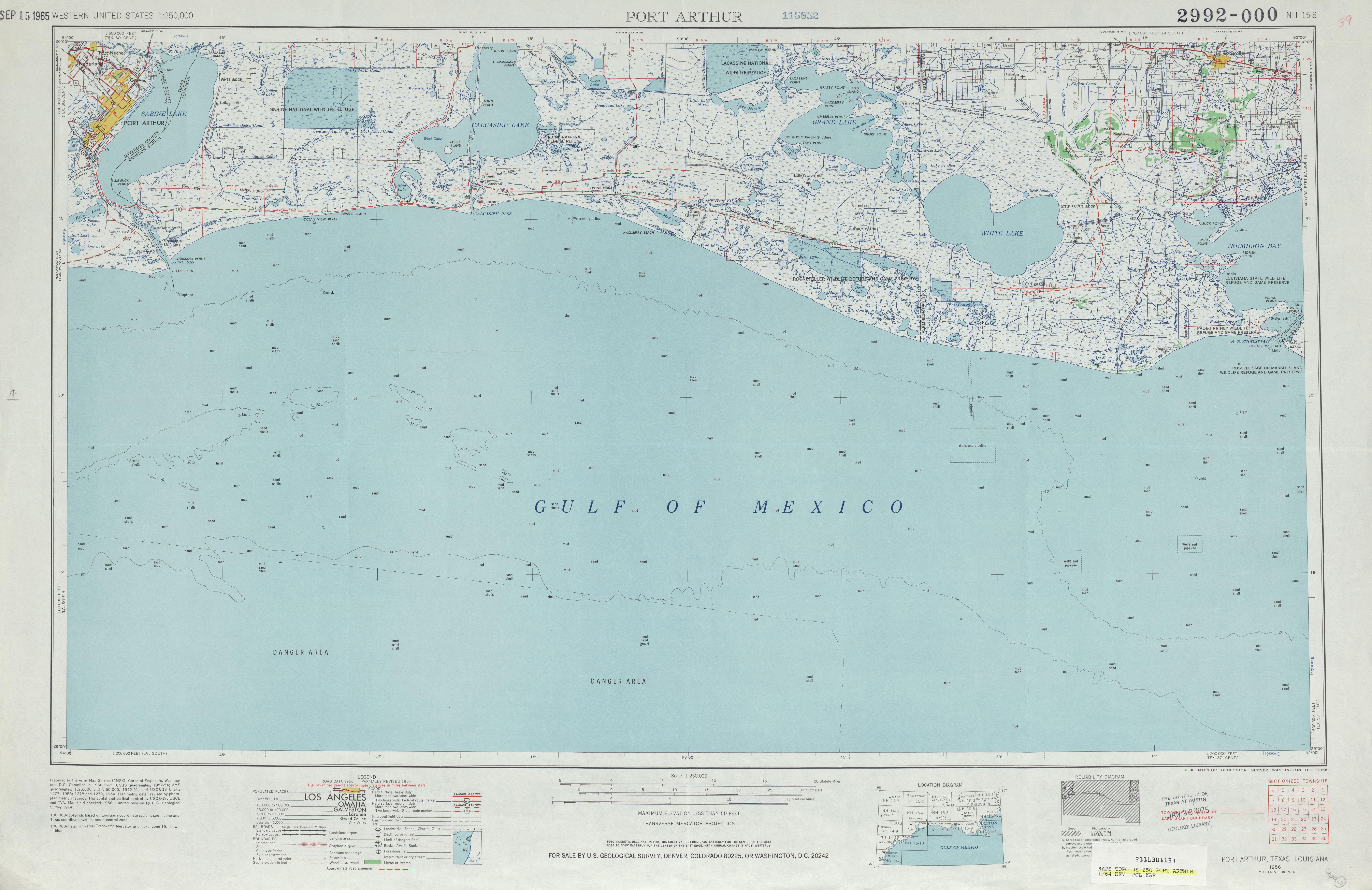 Hoja Port Arthur del Mapa Topográfico de los Estados Unidos 1964