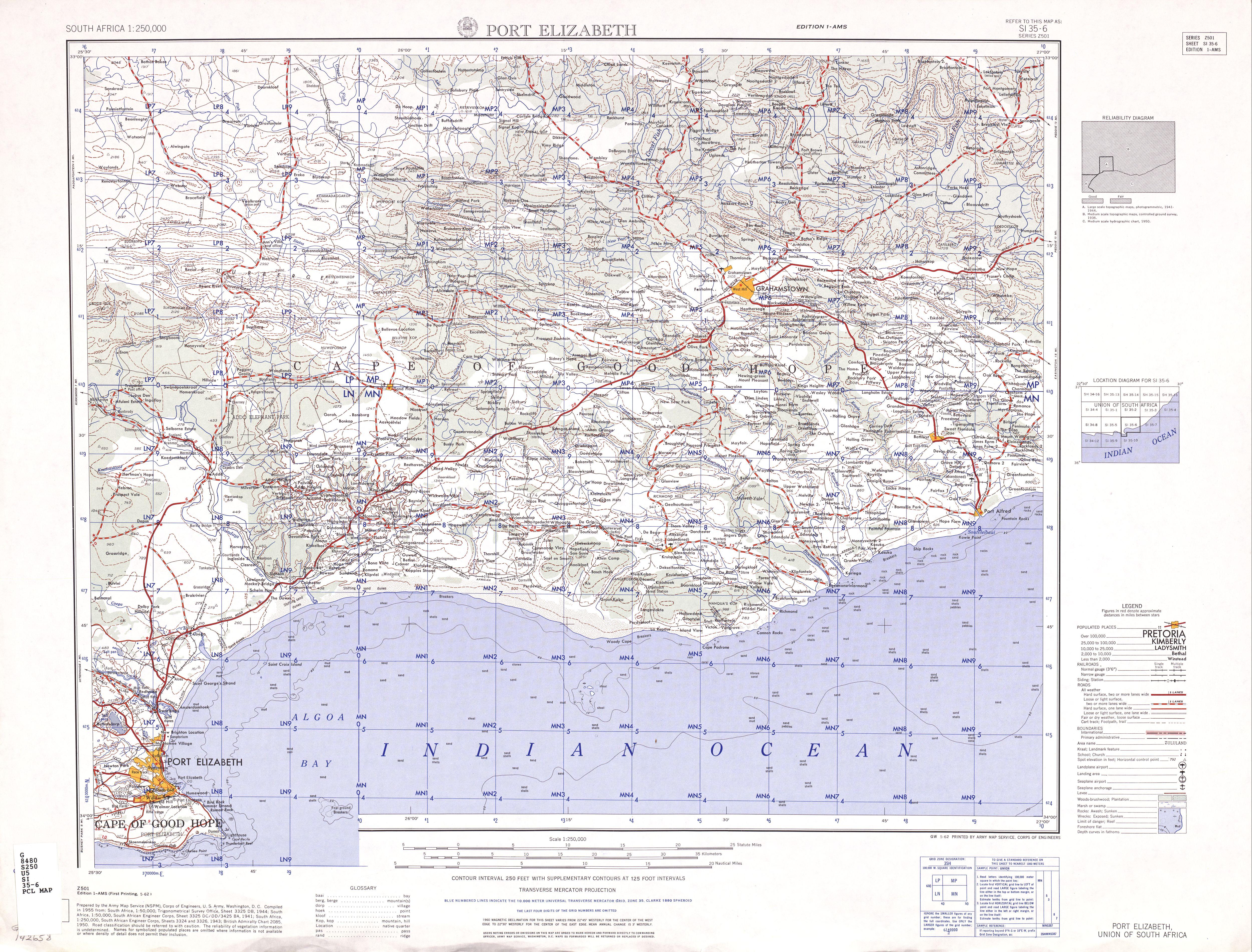 Hoja Port Elizabeth del Mapa Topográfico de África Meridional 1954