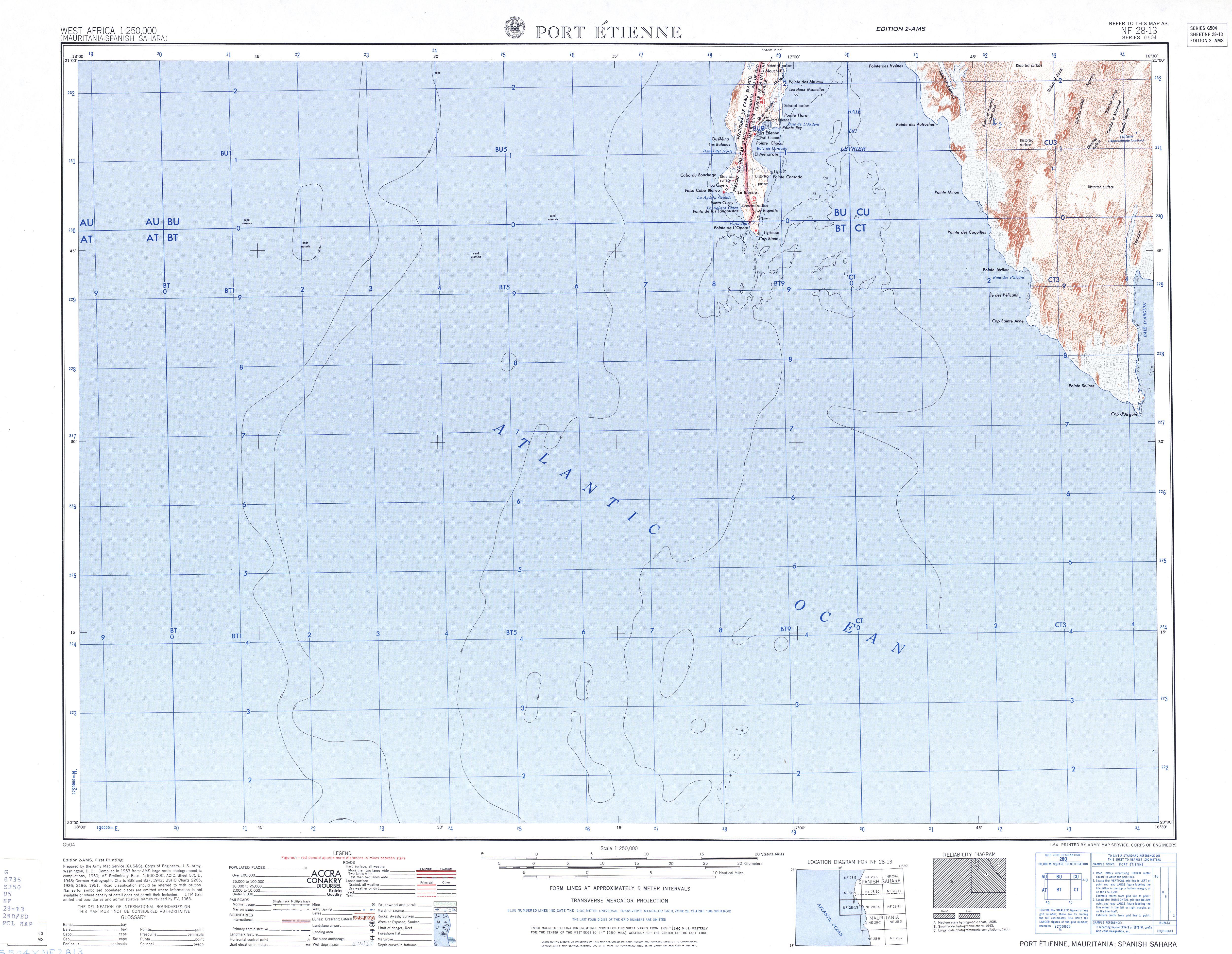 Hoja Port Etienne del Mapa Topográfico de África Occidental 1955
