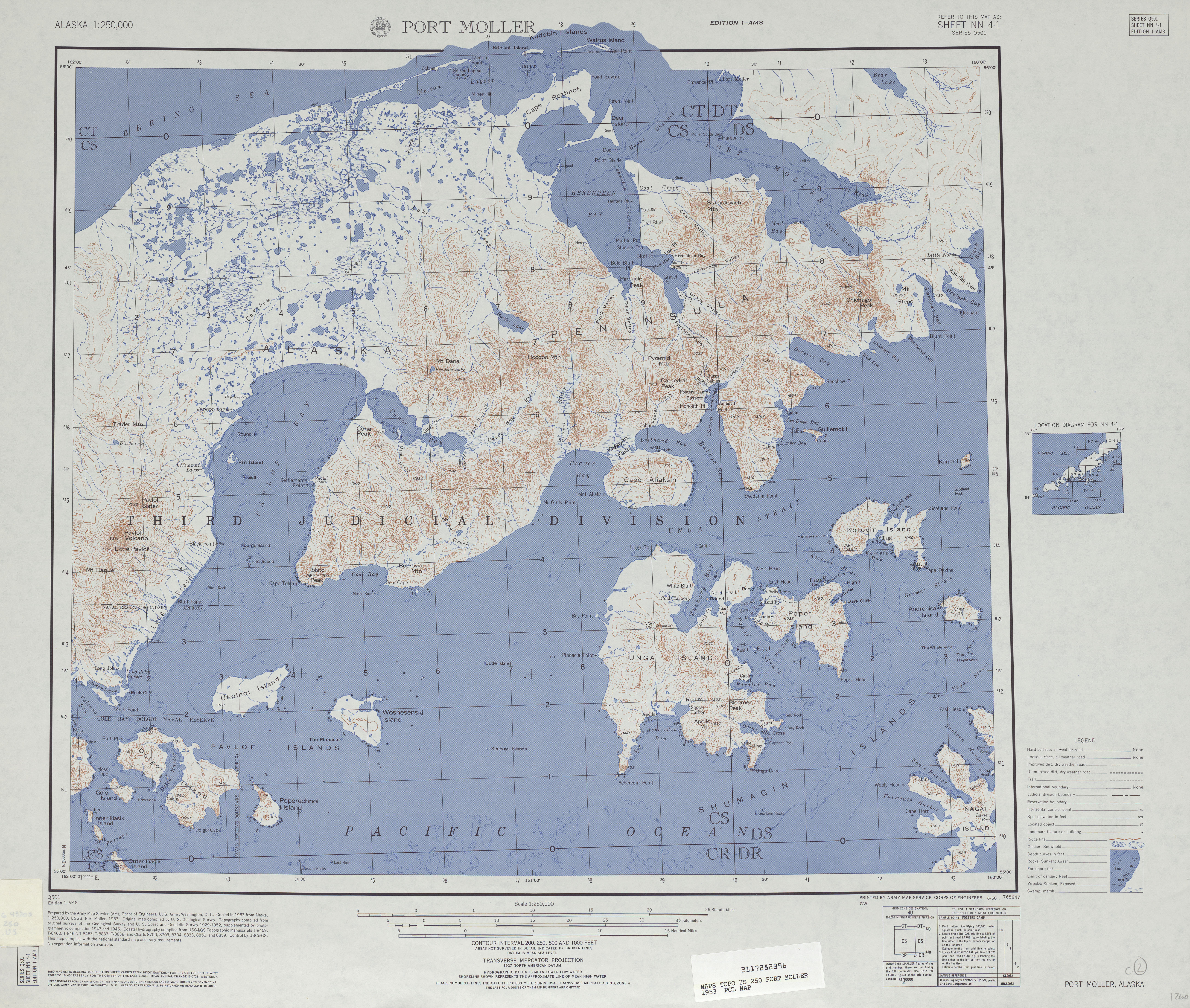 Port Moller Topographic Map Sheet, United States 1953