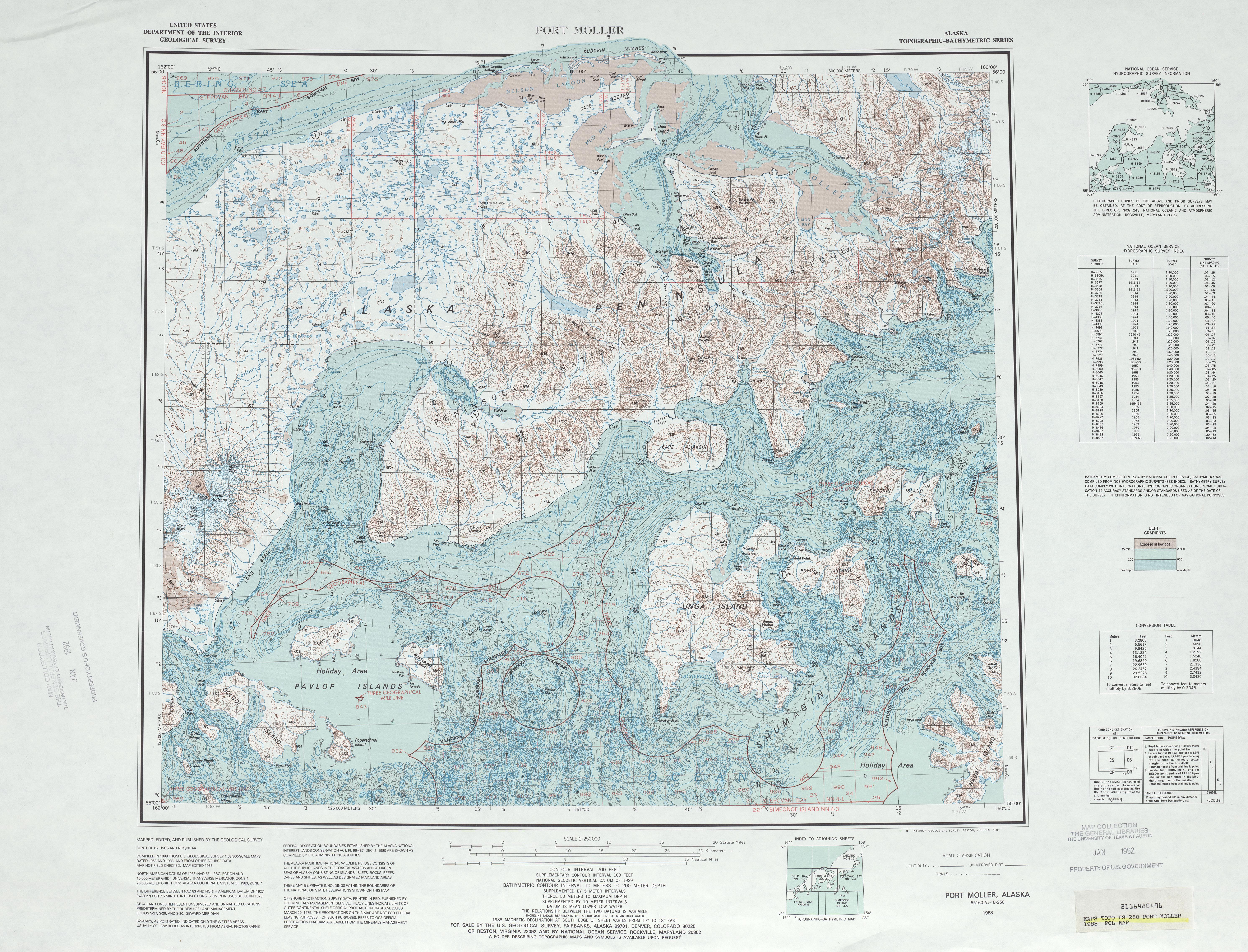 Hoja Port Moller del Mapa Topográfico de los Estados Unidos 1988