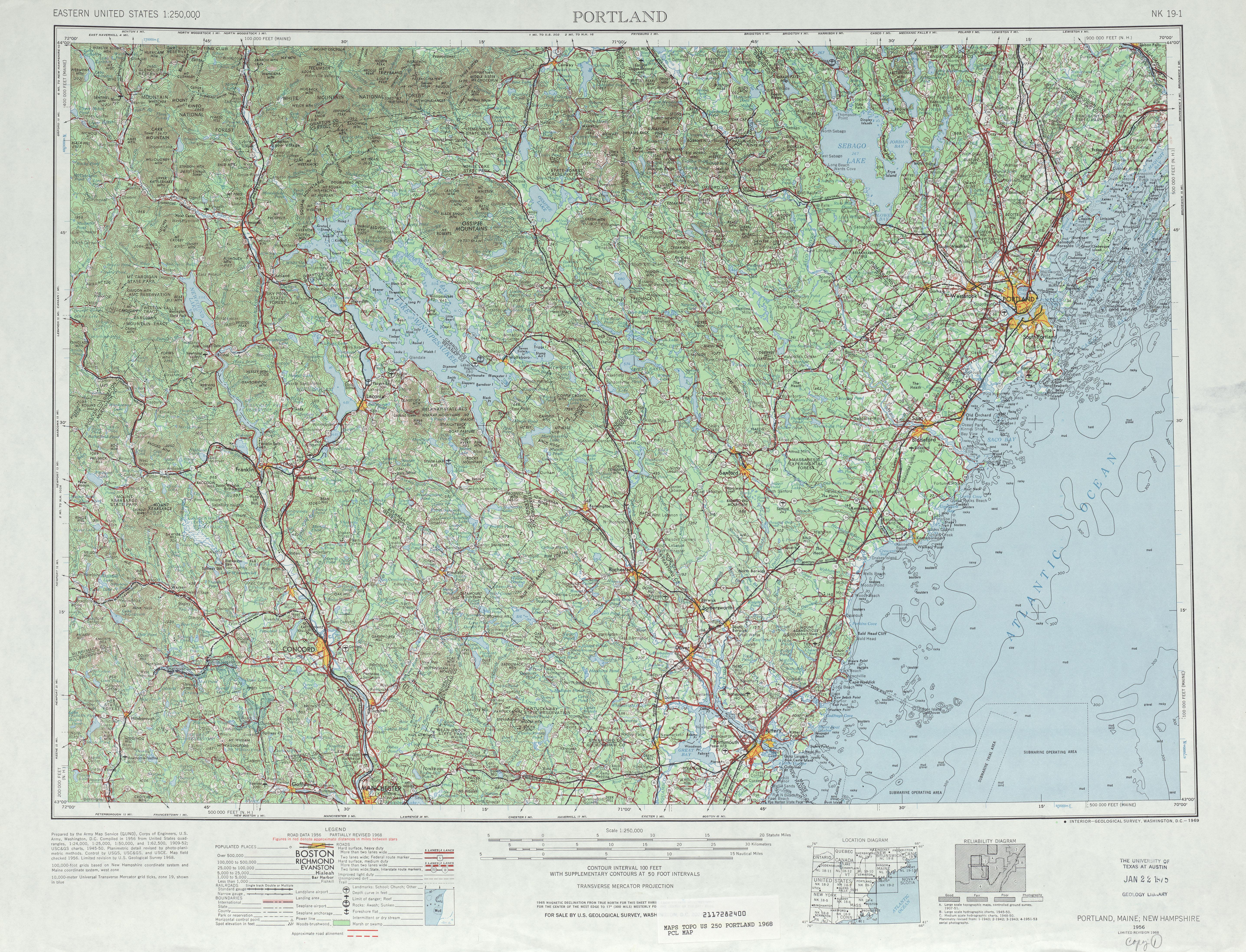 Hoja Portland del Mapa Topográfico de los Estados Unidos 1968