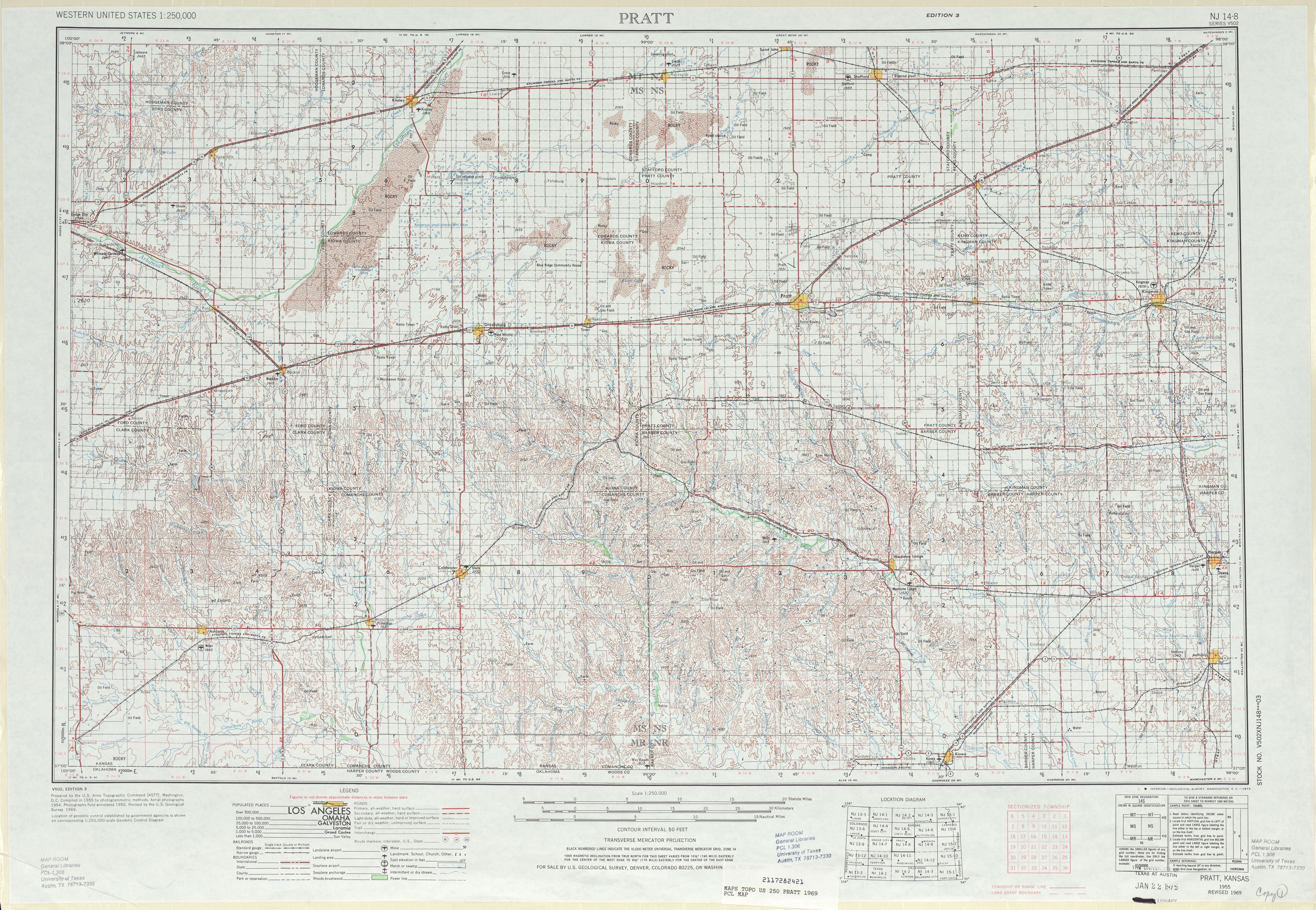 Hoja Pratt del Mapa Topográfico de los Estados Unidos 1969
