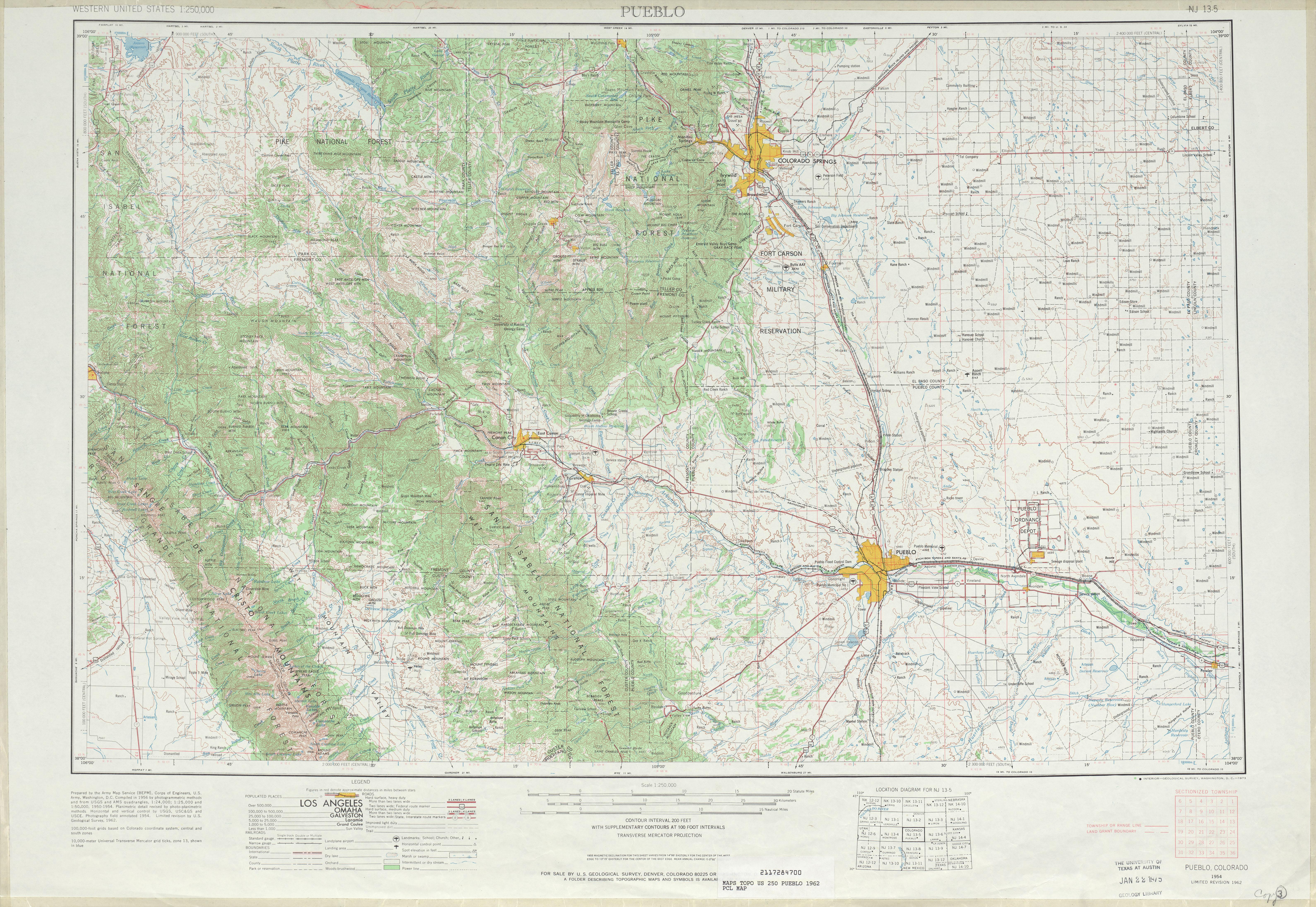 Hoja Pueblo del Mapa Topográfico de los Estados Unidos 1962
