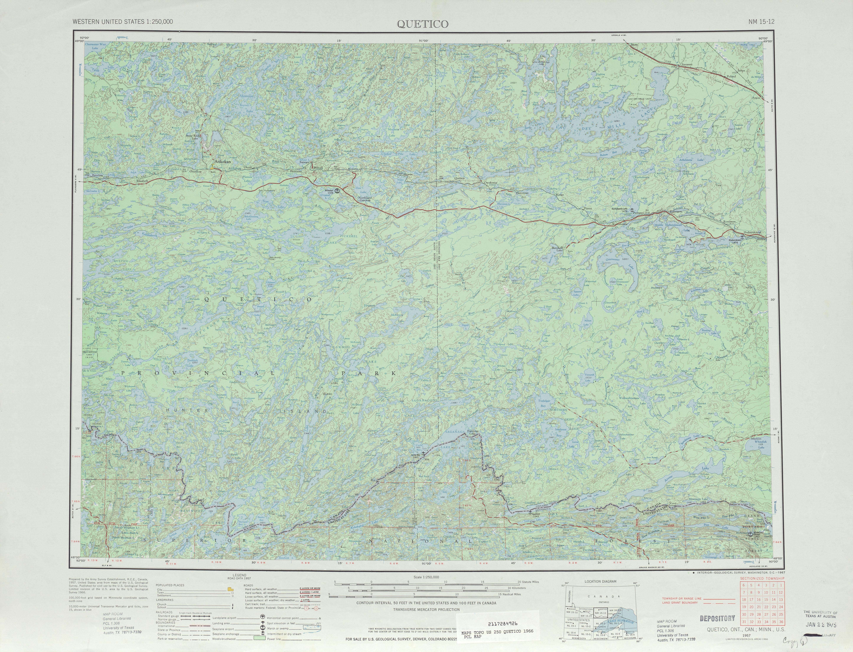 Hoja Quetico del Mapa Topográfico de los Estados Unidos 1966