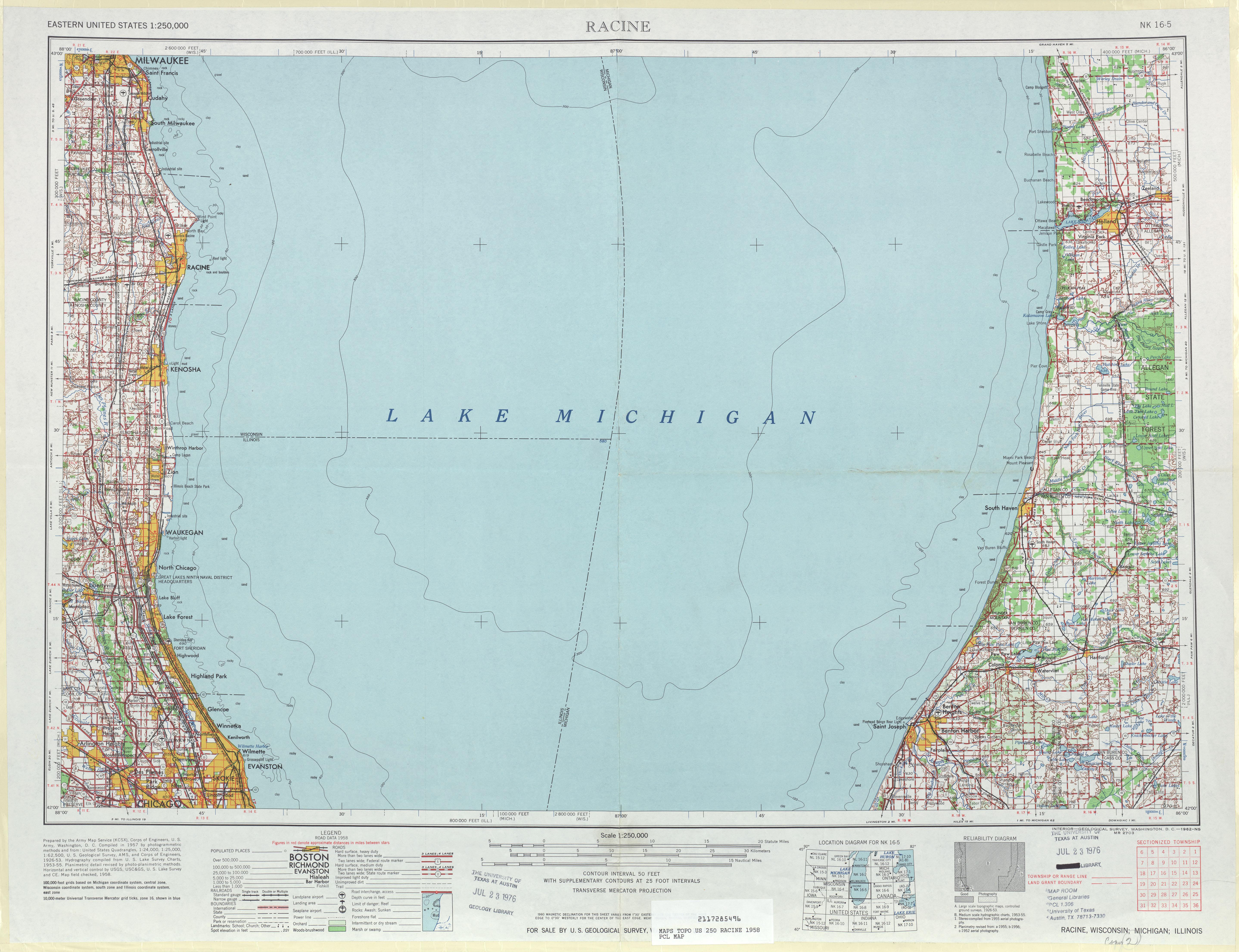 Hoja Racine del Mapa Topográfico de los Estados Unidos 1958